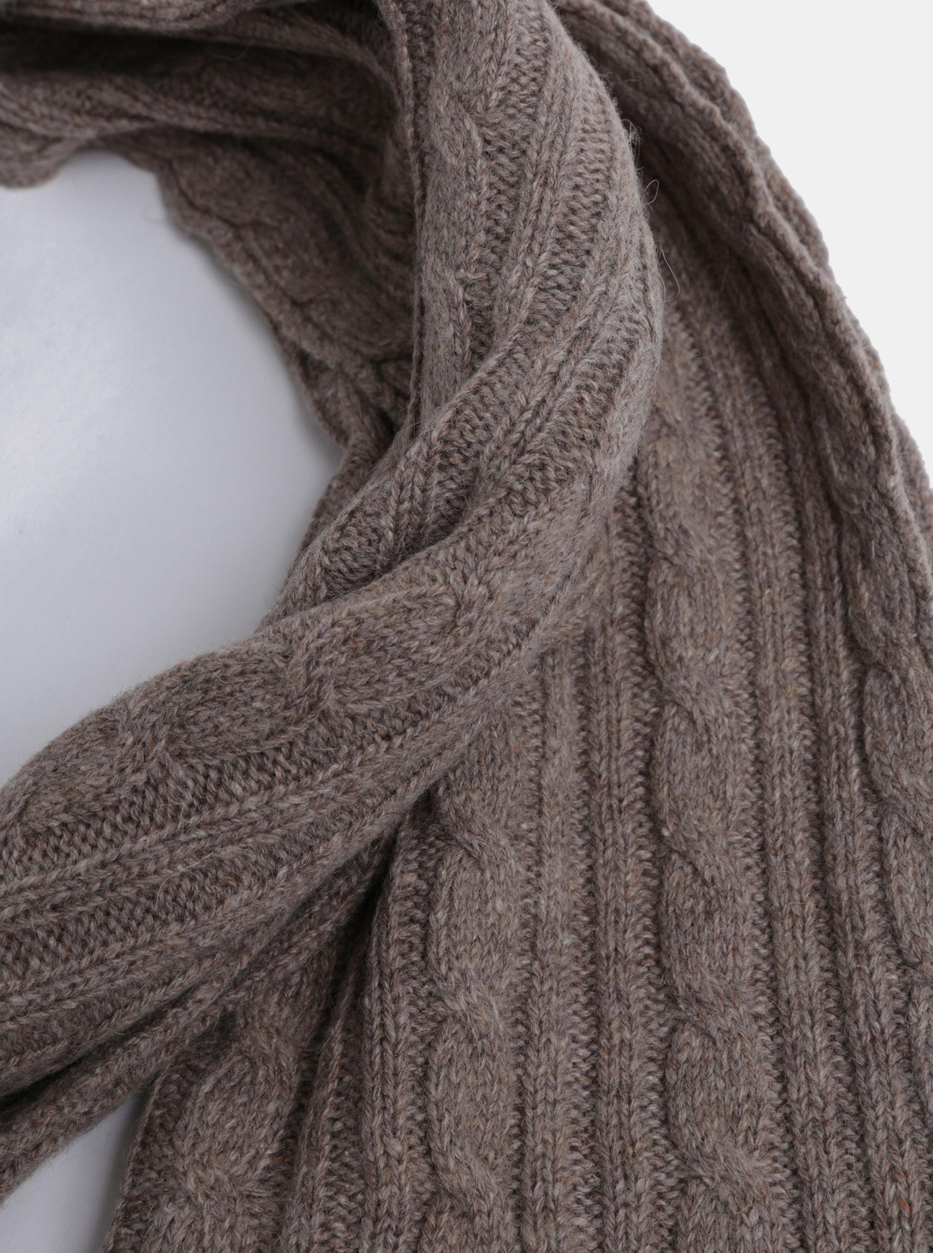 Hnědá dámská pletená šála s příměsí vlny GANT ... 20795334ac