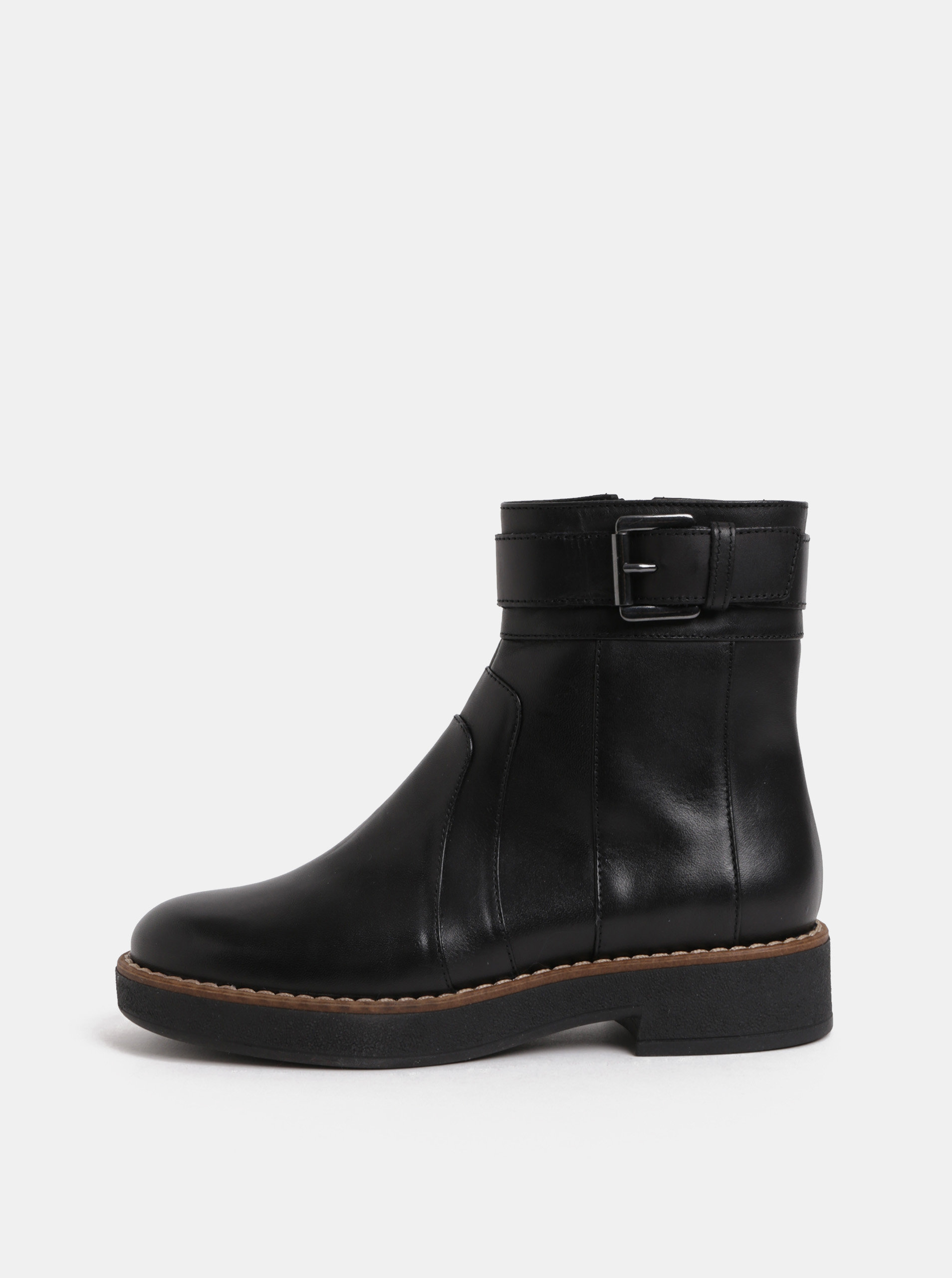 Černé dámské kožené kotníkové boty s přezkou Geox Adrya ... 6e3f2cebe20