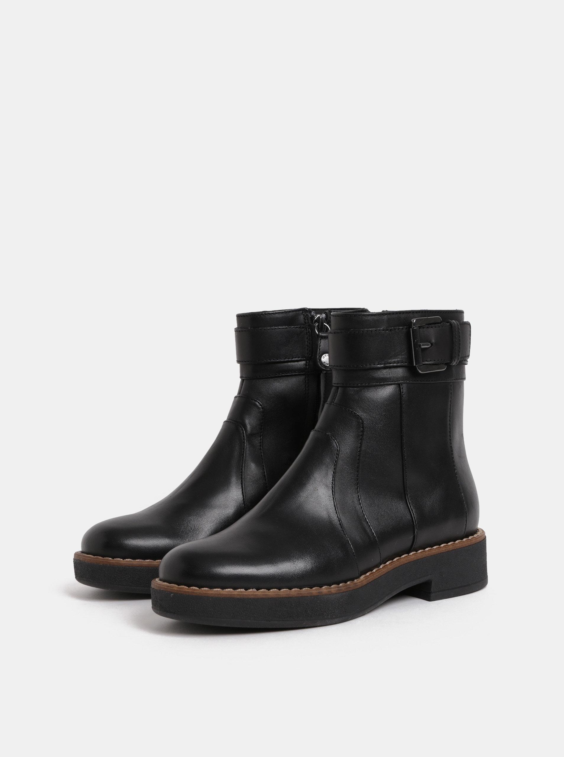335b80135588 Čierne dámske kožené členkové topánky s prackou Geox Adrya ...