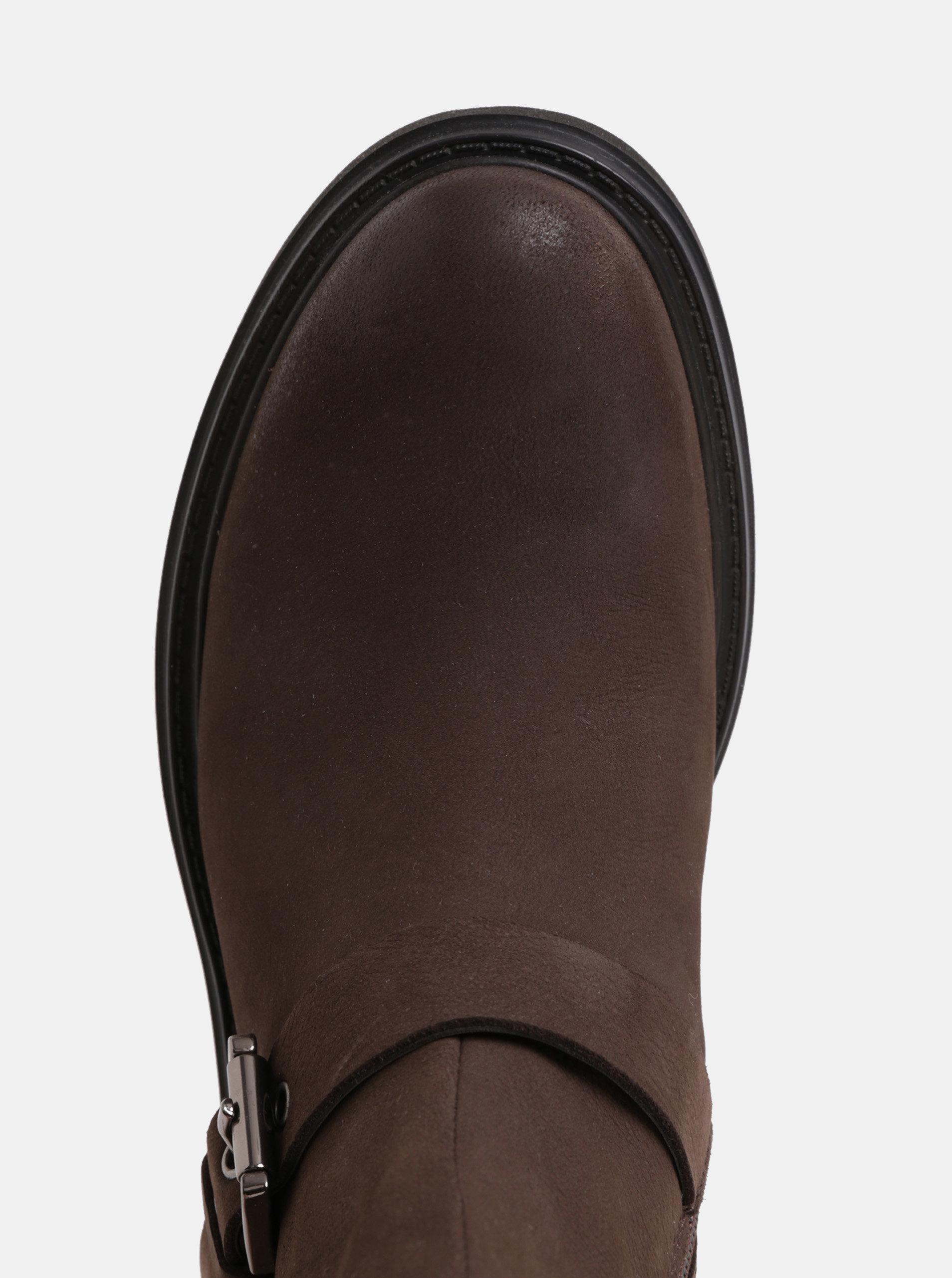 dd5d91d802 Hnedé dámske kožené členkové topánky s prackou Goex Asheely ...