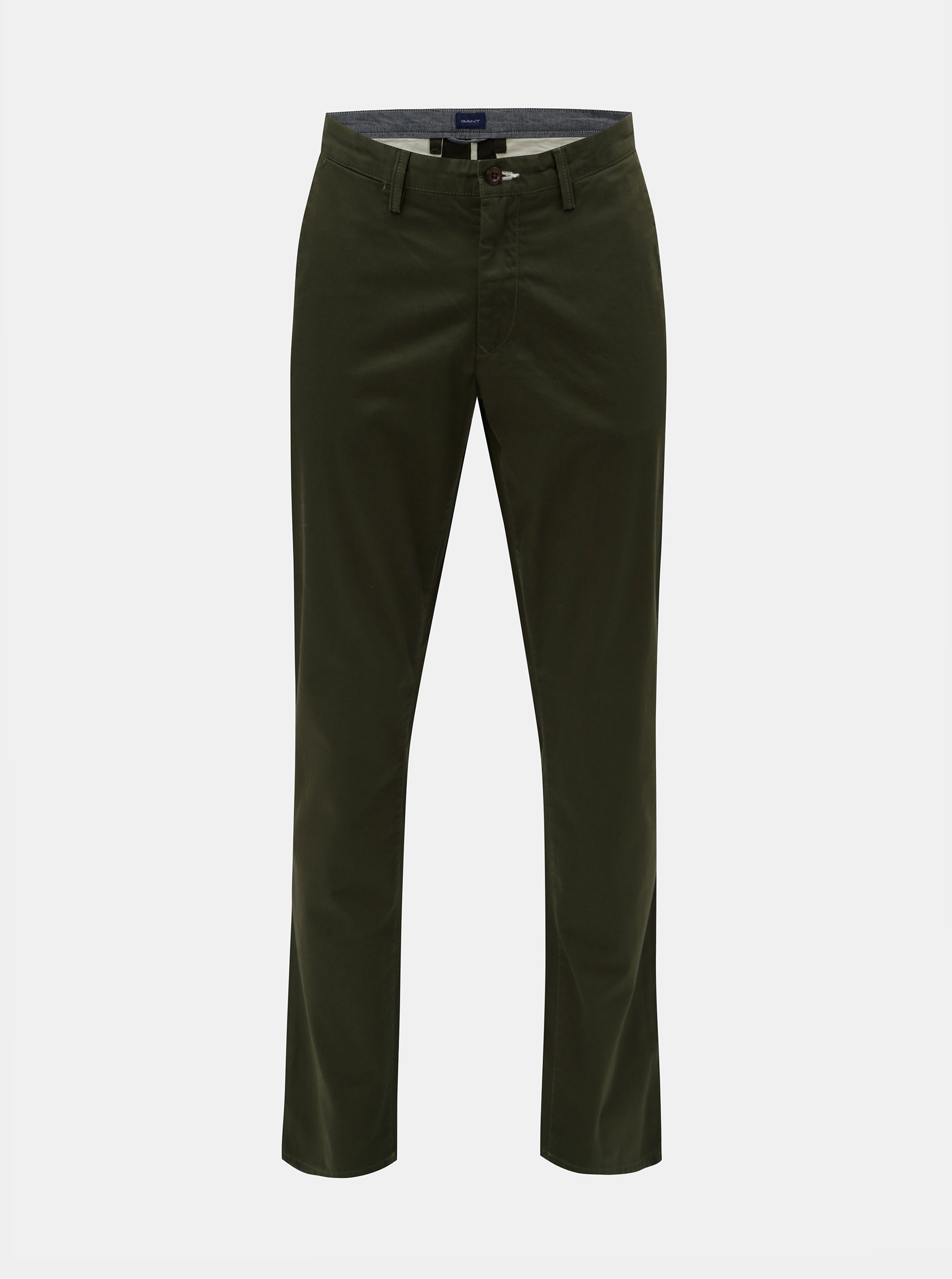 Tmavě zelené pánské slim fit chino kalhoty GANT