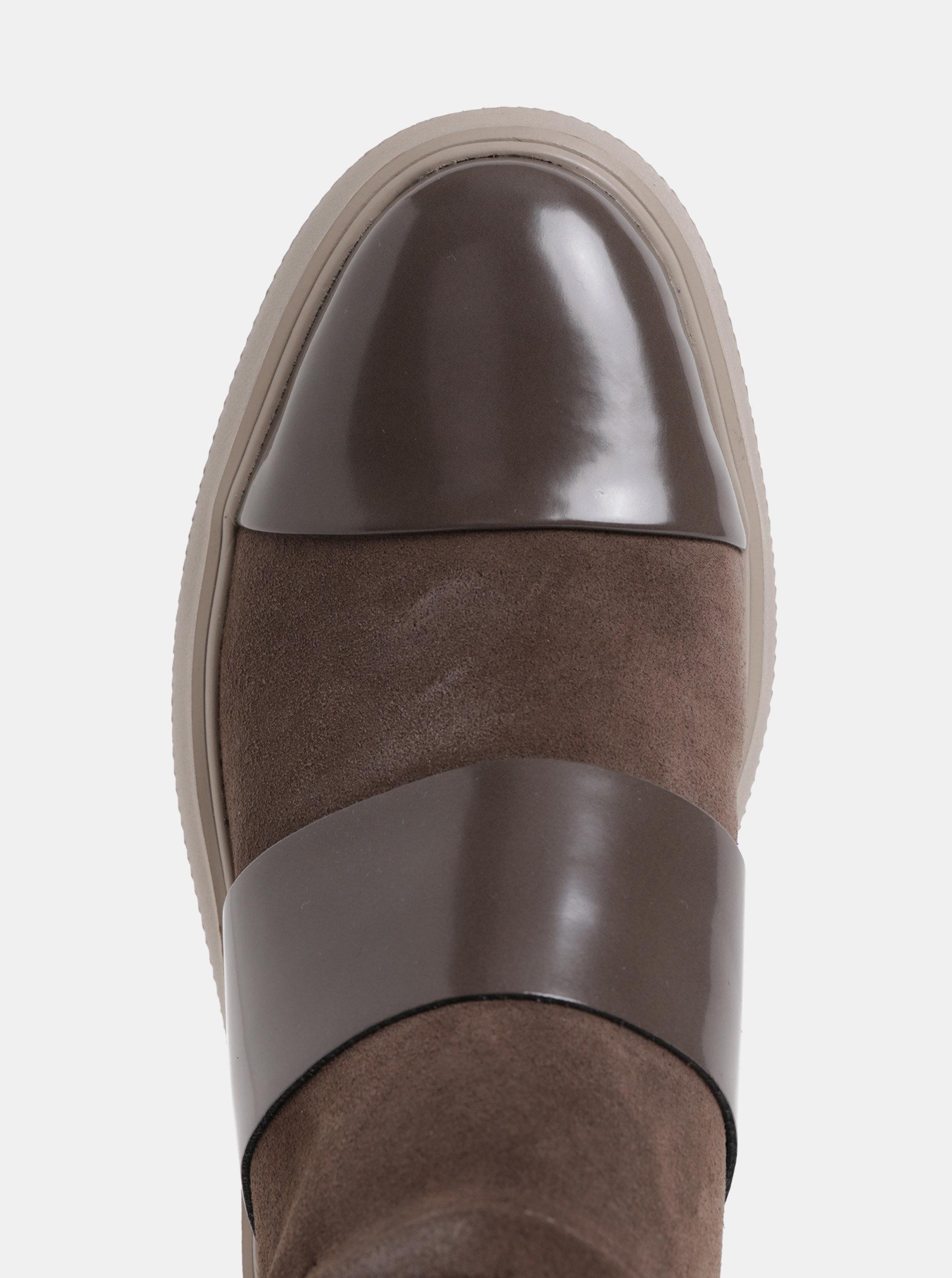 943fa5642e2 Hnědé dámské semišové kotníkové boty na platformě Geox Kaula ...
