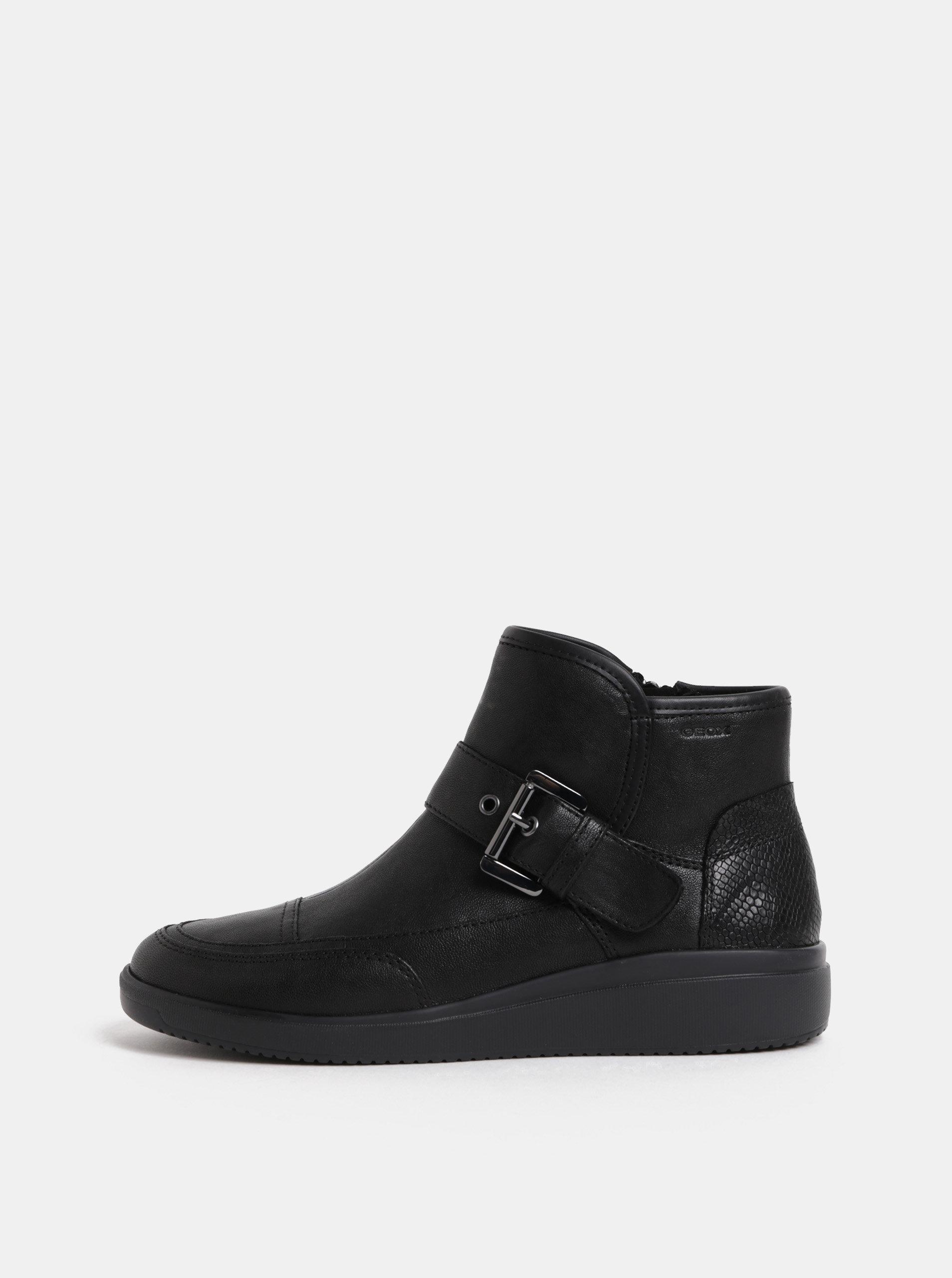 Čierne dámske kožené členkové topánky s remienkom Geox Tahina ... 83167a9ee9