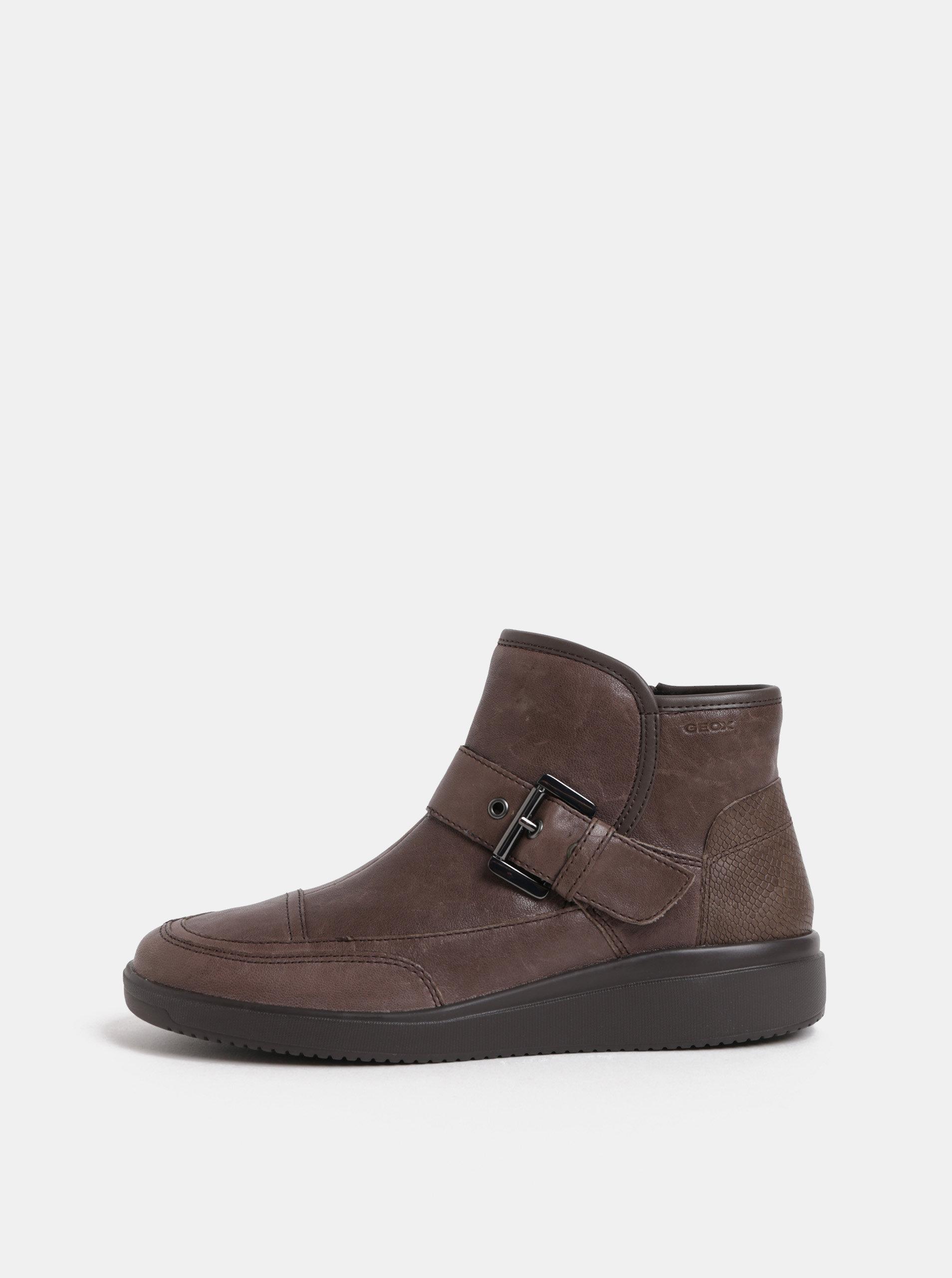 Hnedé dámske kožené členkové topánky s remienkom Geox Tahina ... 6ec05c4cb50