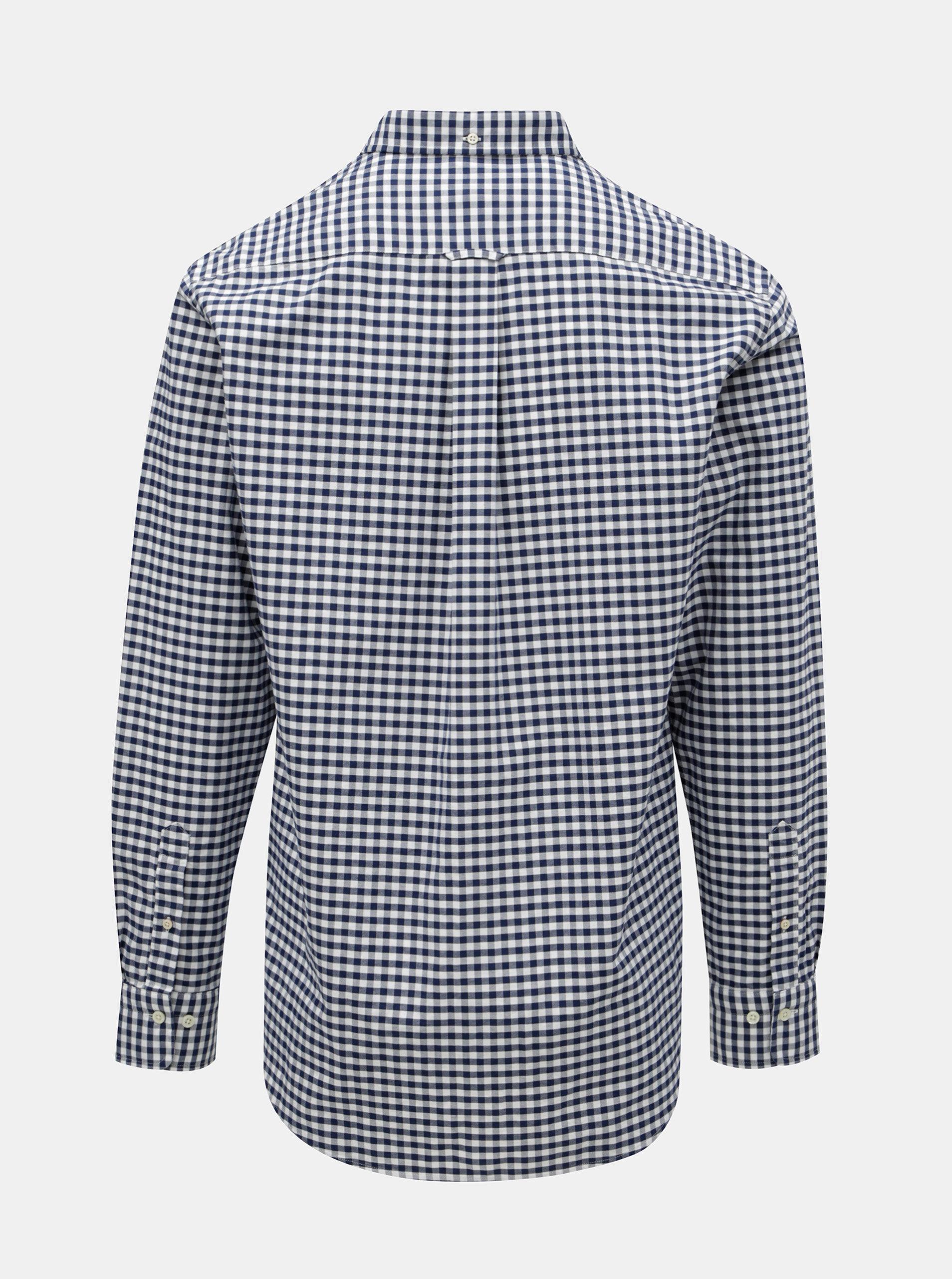 0a6eda47dba Bílo-modrá pánská kostkovaná regular fit košile s výšivkou GANT ...