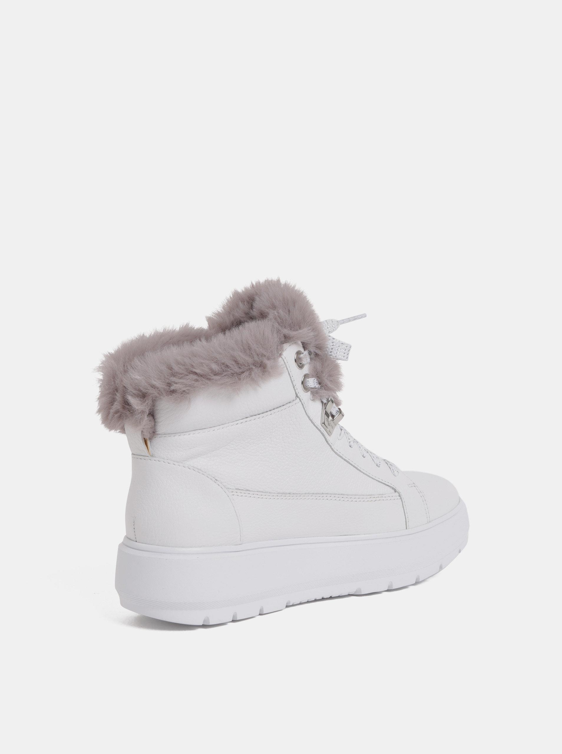 7833ed5968f Bílé dámské kožené zimní boty na platformě Geox Kaula ...