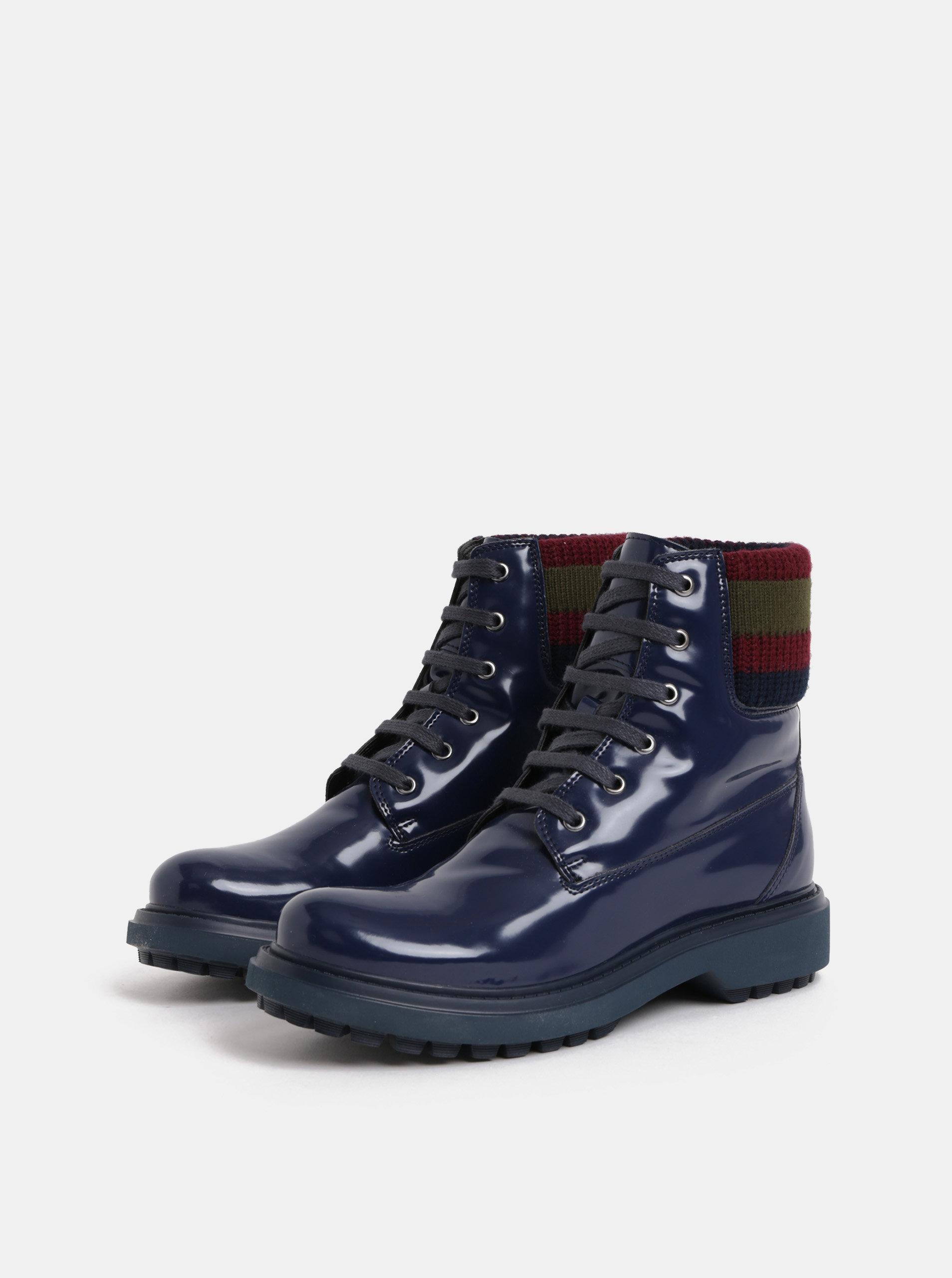 Tmavě modré dámské kotníkové boty s úpletovým lemem Geox Asheely ... 0110d24332