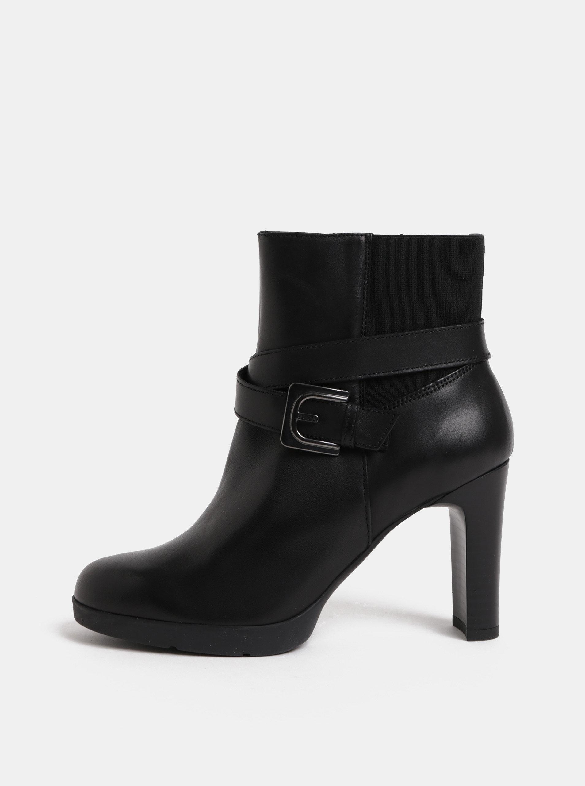 Čierne dámske kožené členkové topánky na podpätku Geox Annya ... 23ff8eee91