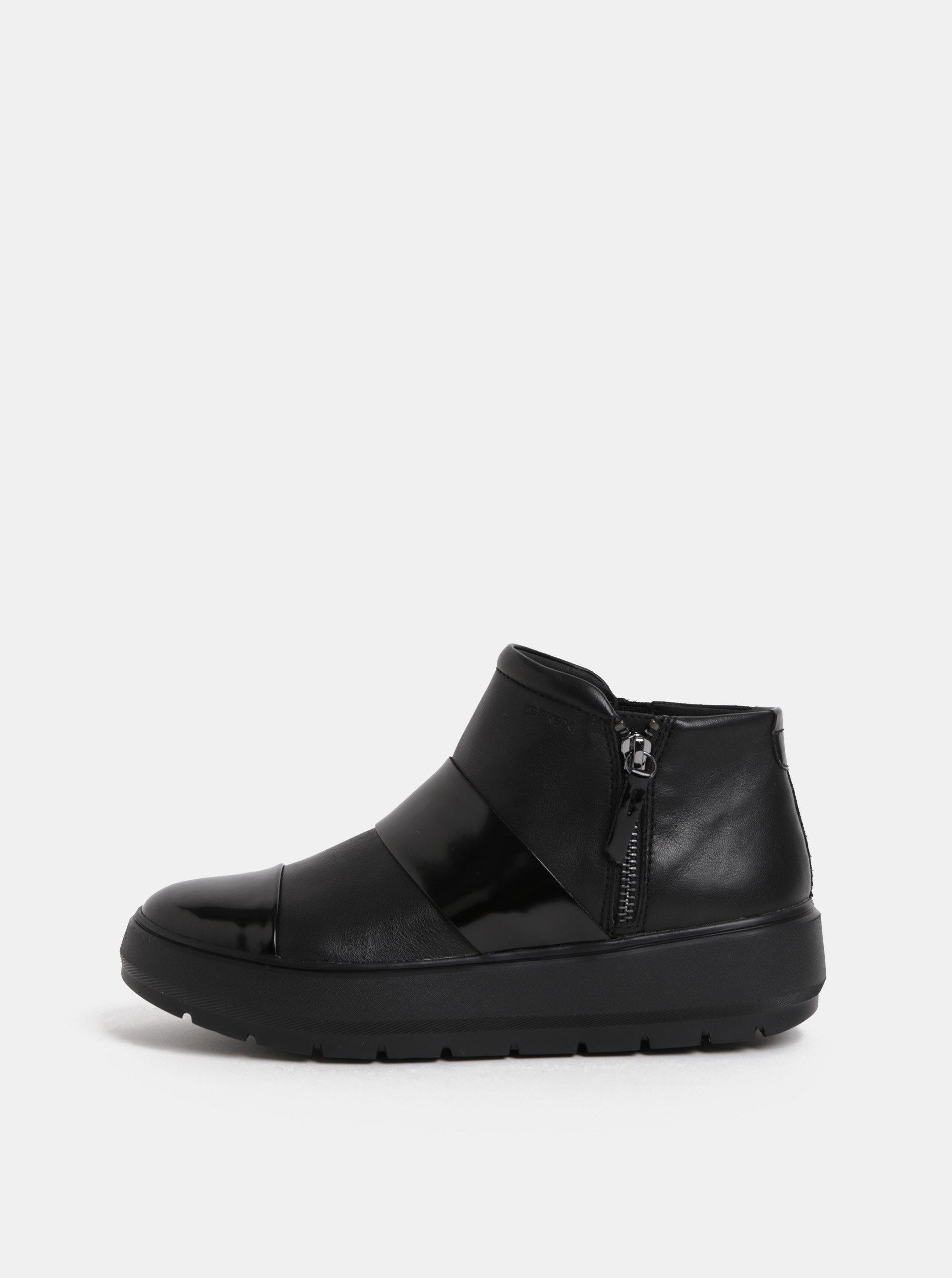 4737f93a08fb Čierne dámske kožené členkové topánky na platforme Geox Kaula ...