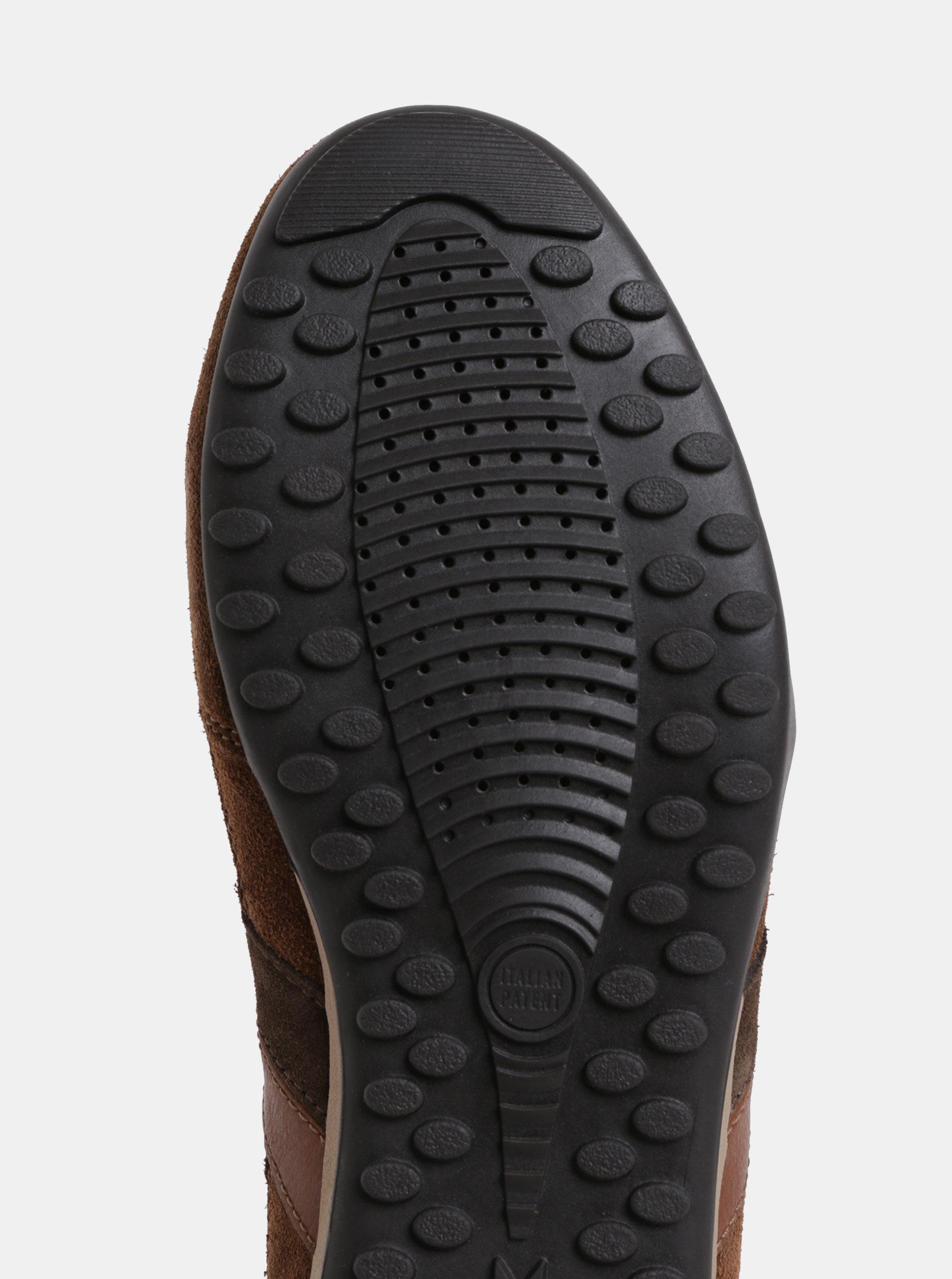9dadeb540d1b Hnedé pánske kožené tenisky so semišovými detailmi Geox Wells ...