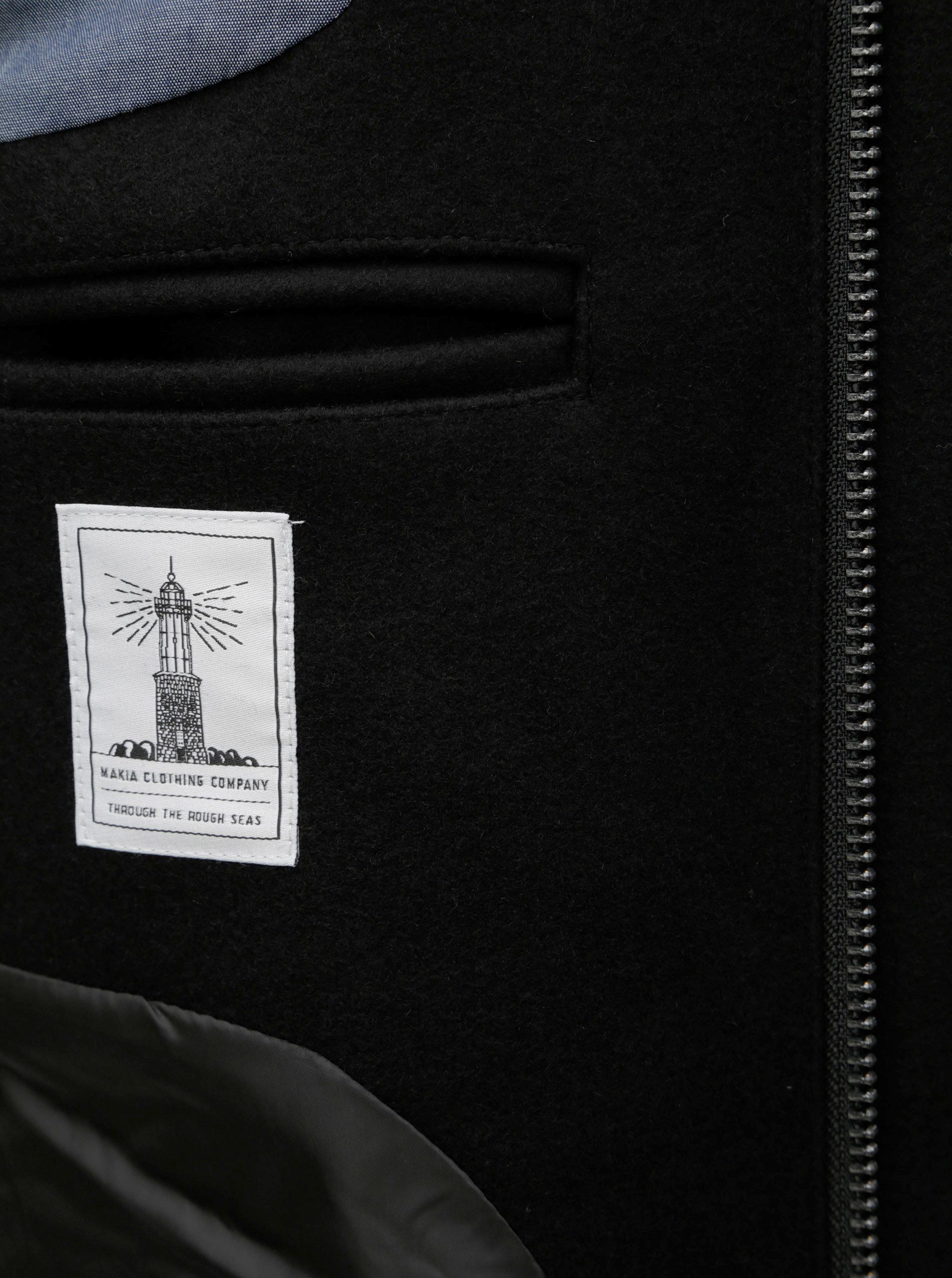 db8a281d8e1 Černý pánský vlněný kabát s kapucí Makia ...