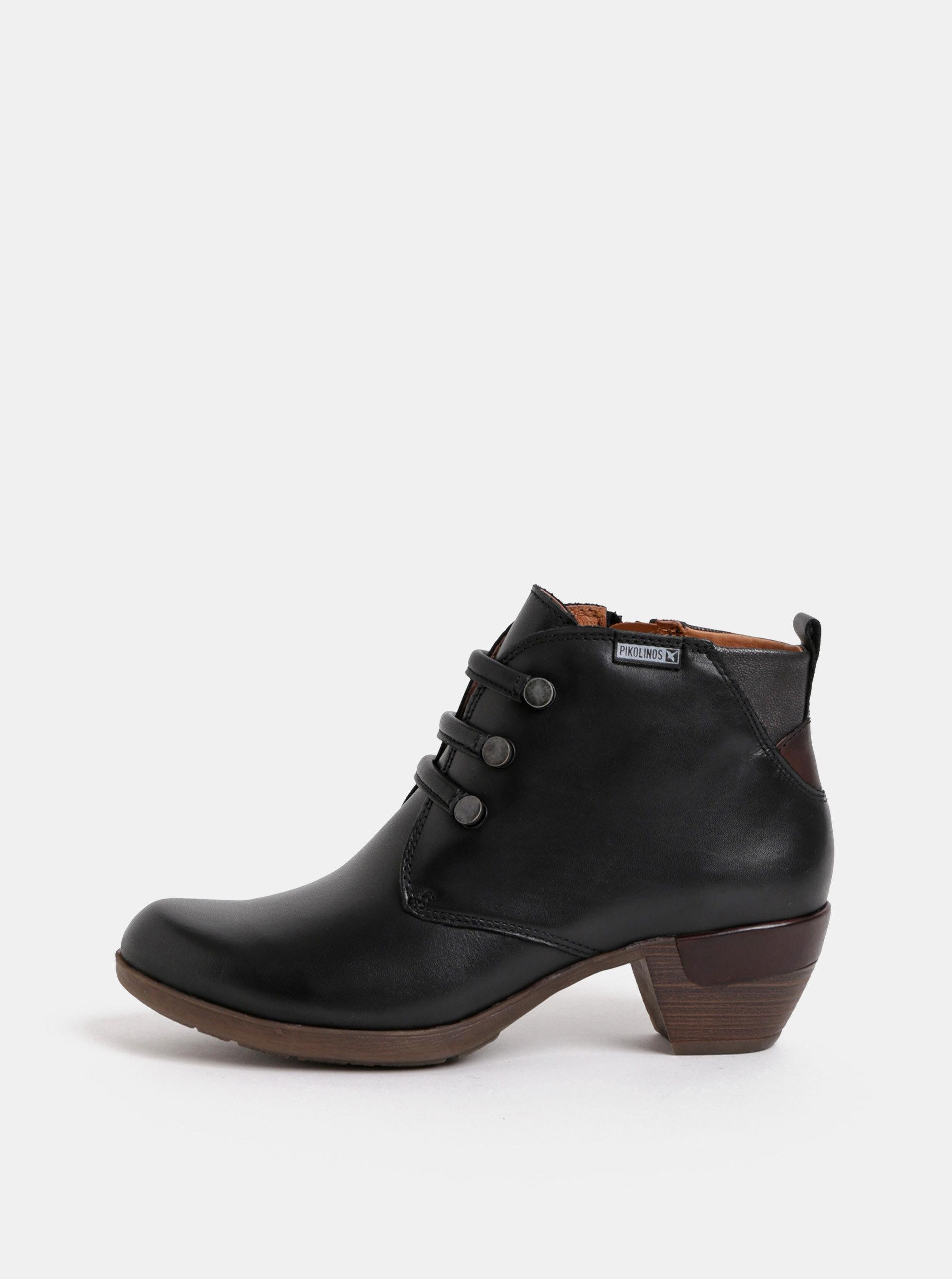Černé kožené kotníkové boty Pikolinos Black