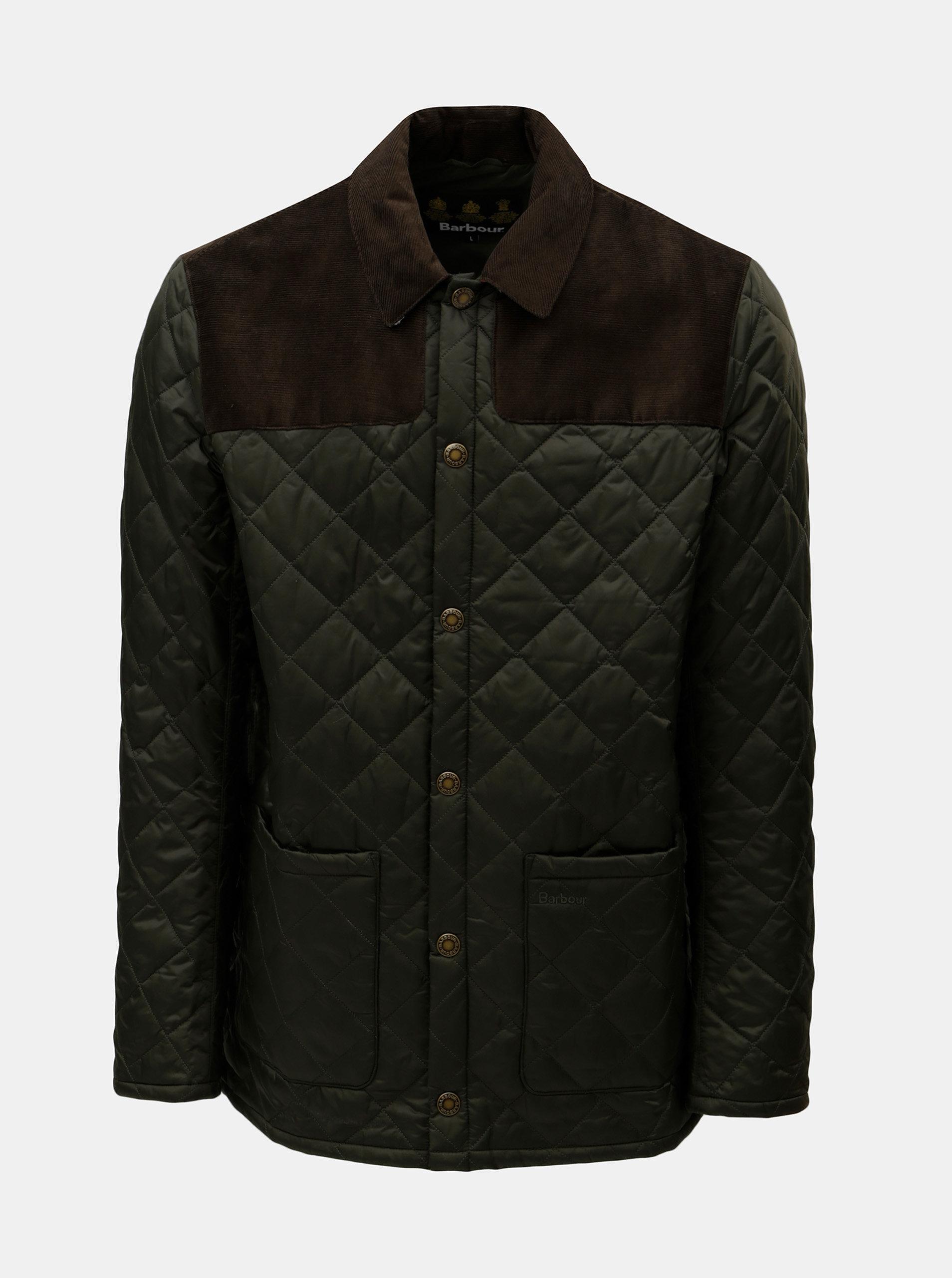 Khaki prošívaná lehká bunda s manšestrovými detaily Barbour Gillock Quilt