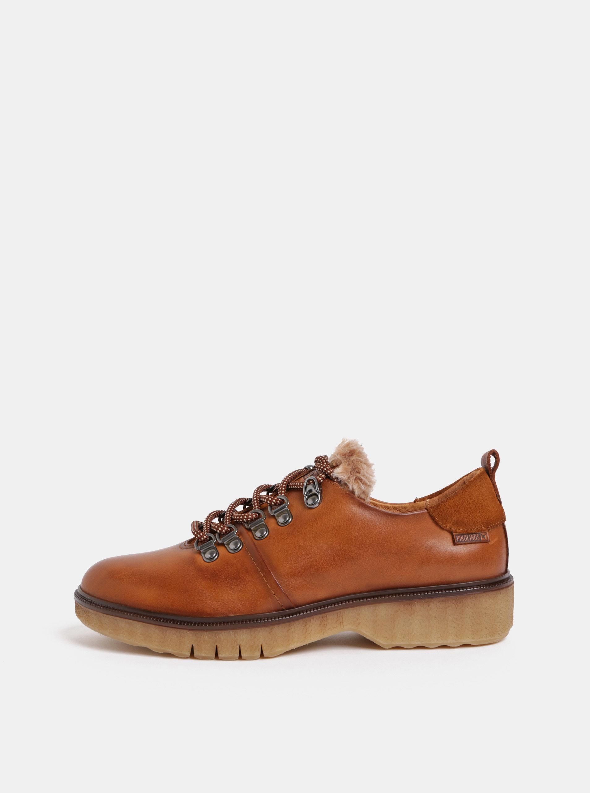 Hnědé kožené  boty s umělým kožíškem Pikolinos Brandy