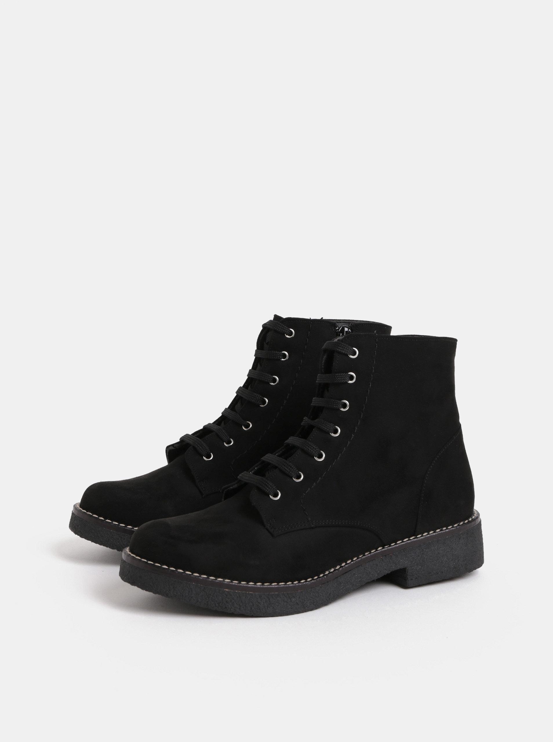 27ddb291b5cf Čierne členkové topánky v semišovej úprave OJJU ...