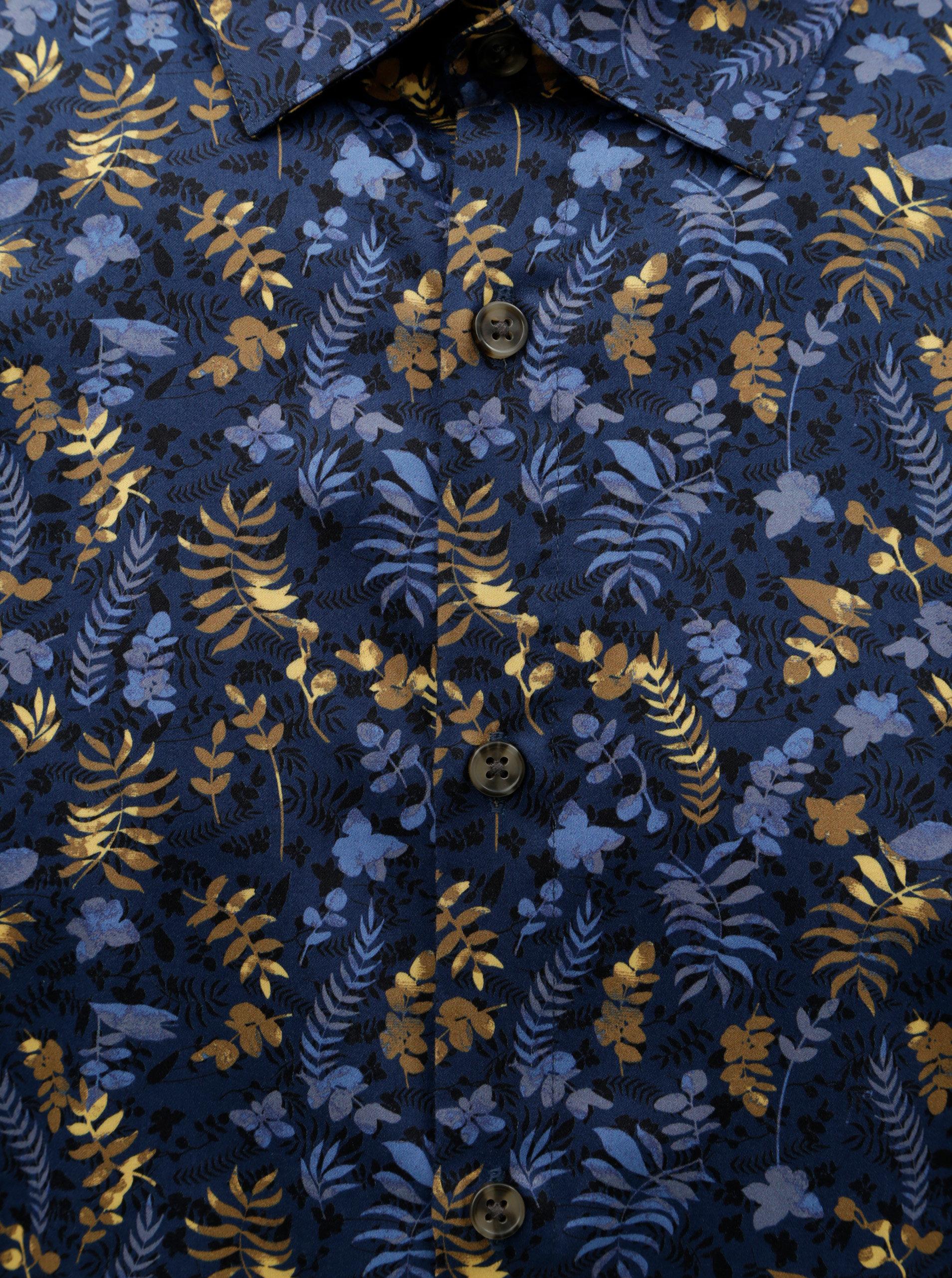Tmavě modrá květovaná košile Lindbergh - SLEVA!  76b43ee302