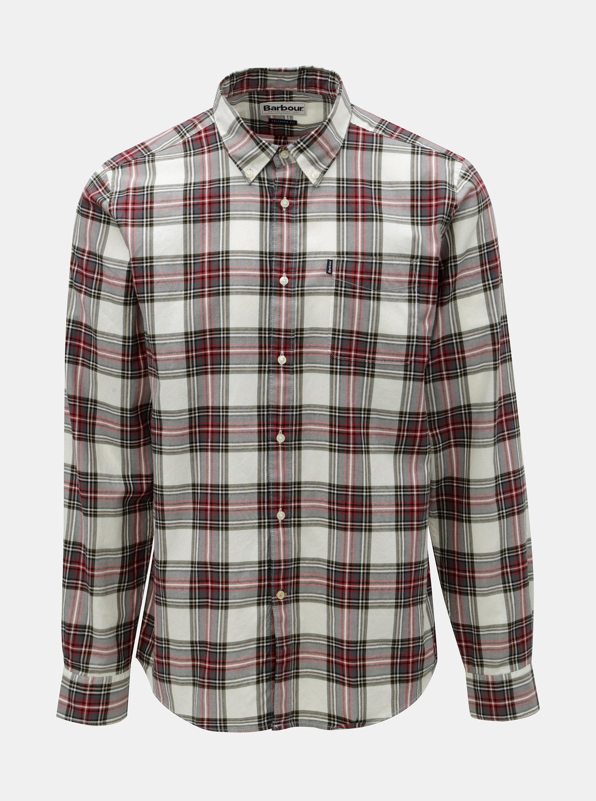 Červeno-bílá kostkovaná košile s náprsní kapsou Barbour Endsleigh Highland Check