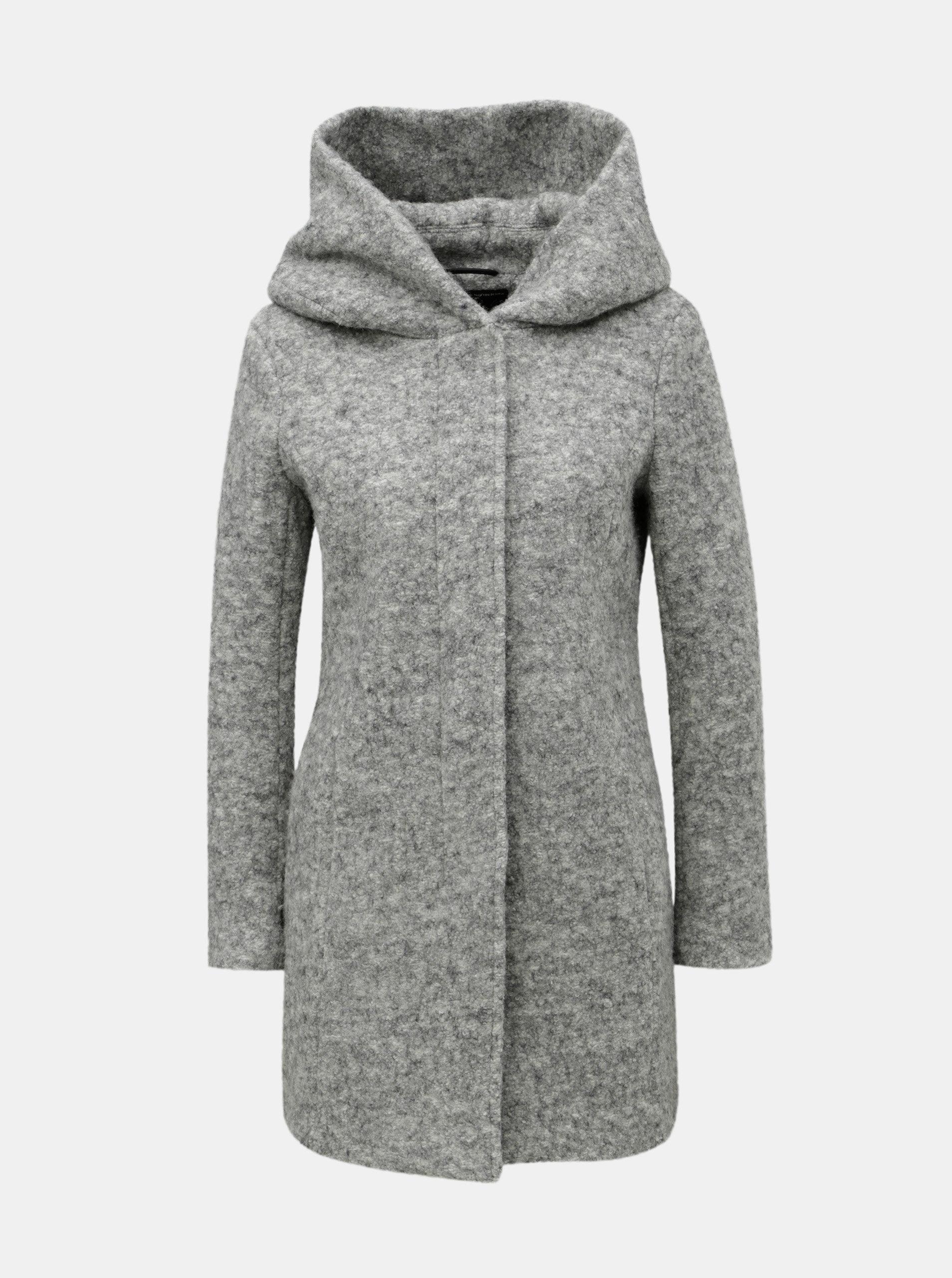 Světle šedý žíhaný kabát a příměsí vlny ONLY