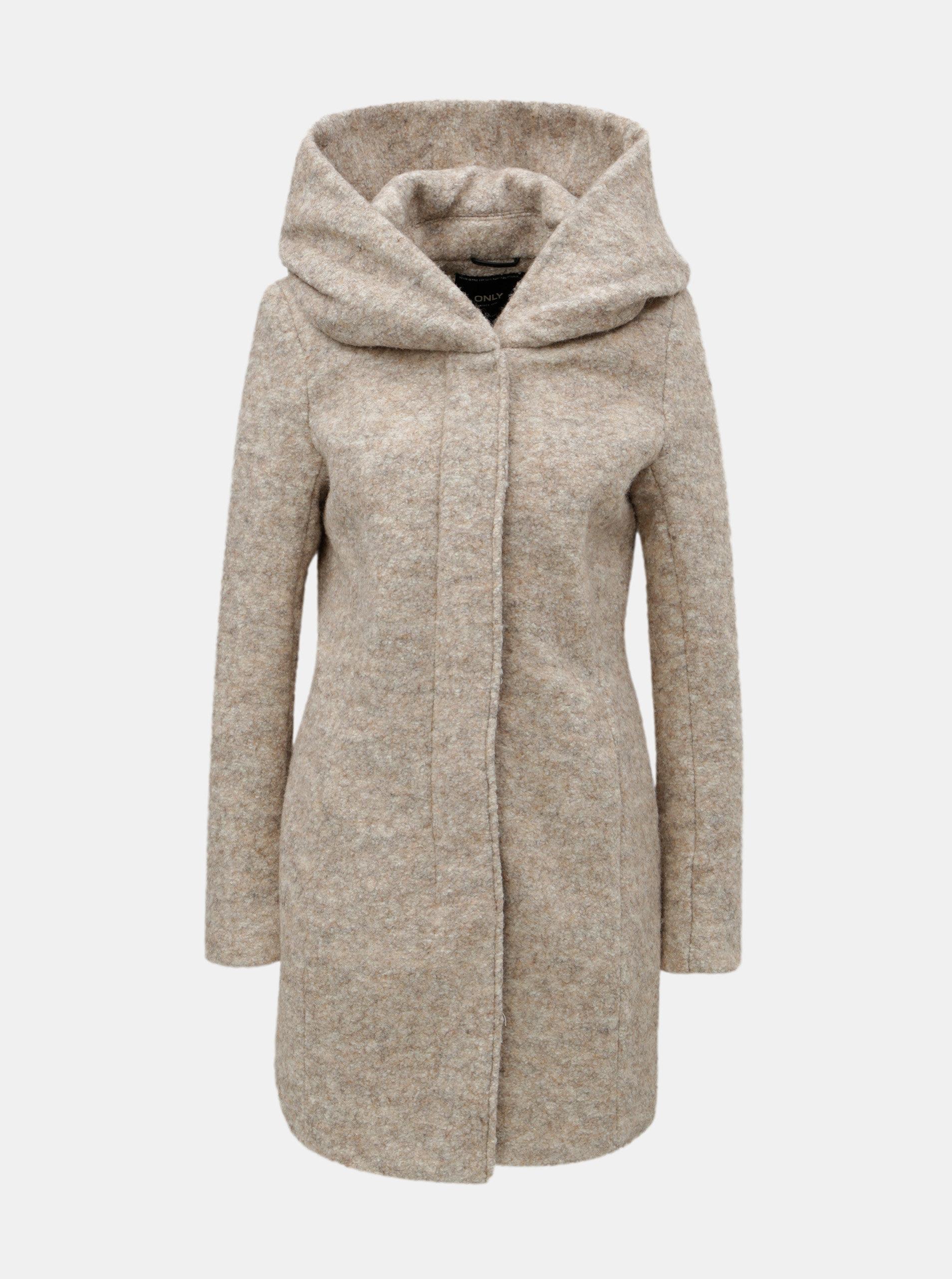 Béžový žíhaný kabát s příměsí vlny ONLY