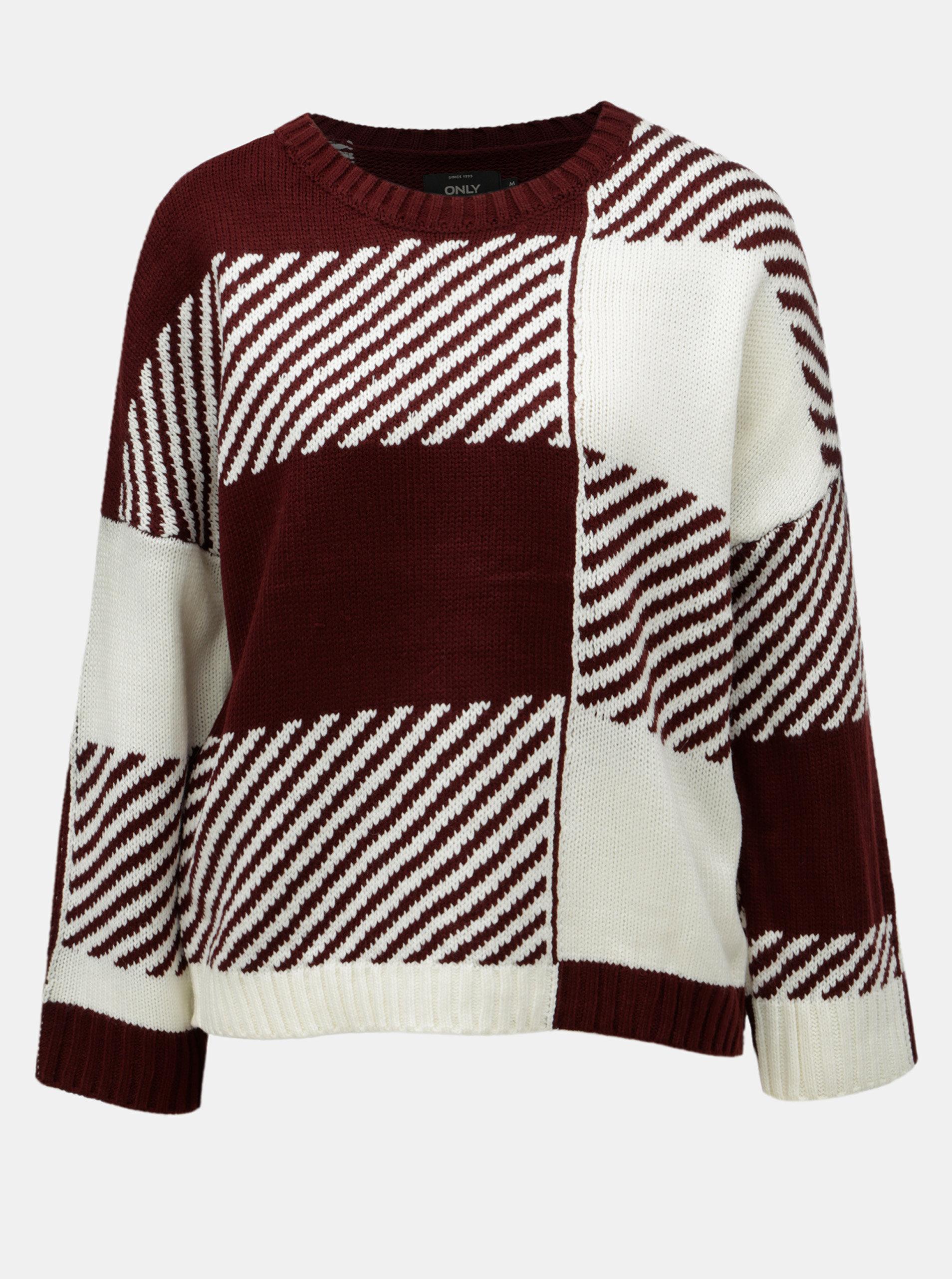 Bílo-vínový vzorovaný svetr ONLY Kasey