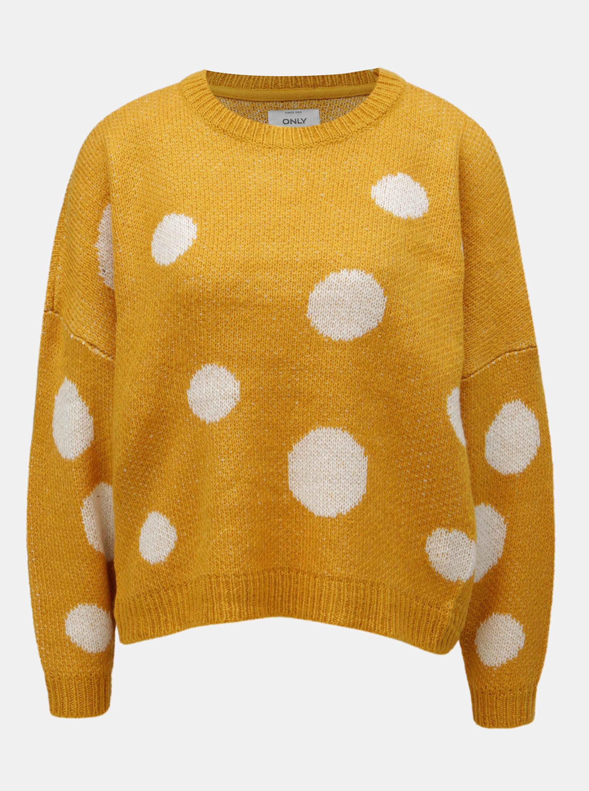 Oranžový puntíkovaný svetr ONLY Tiffany