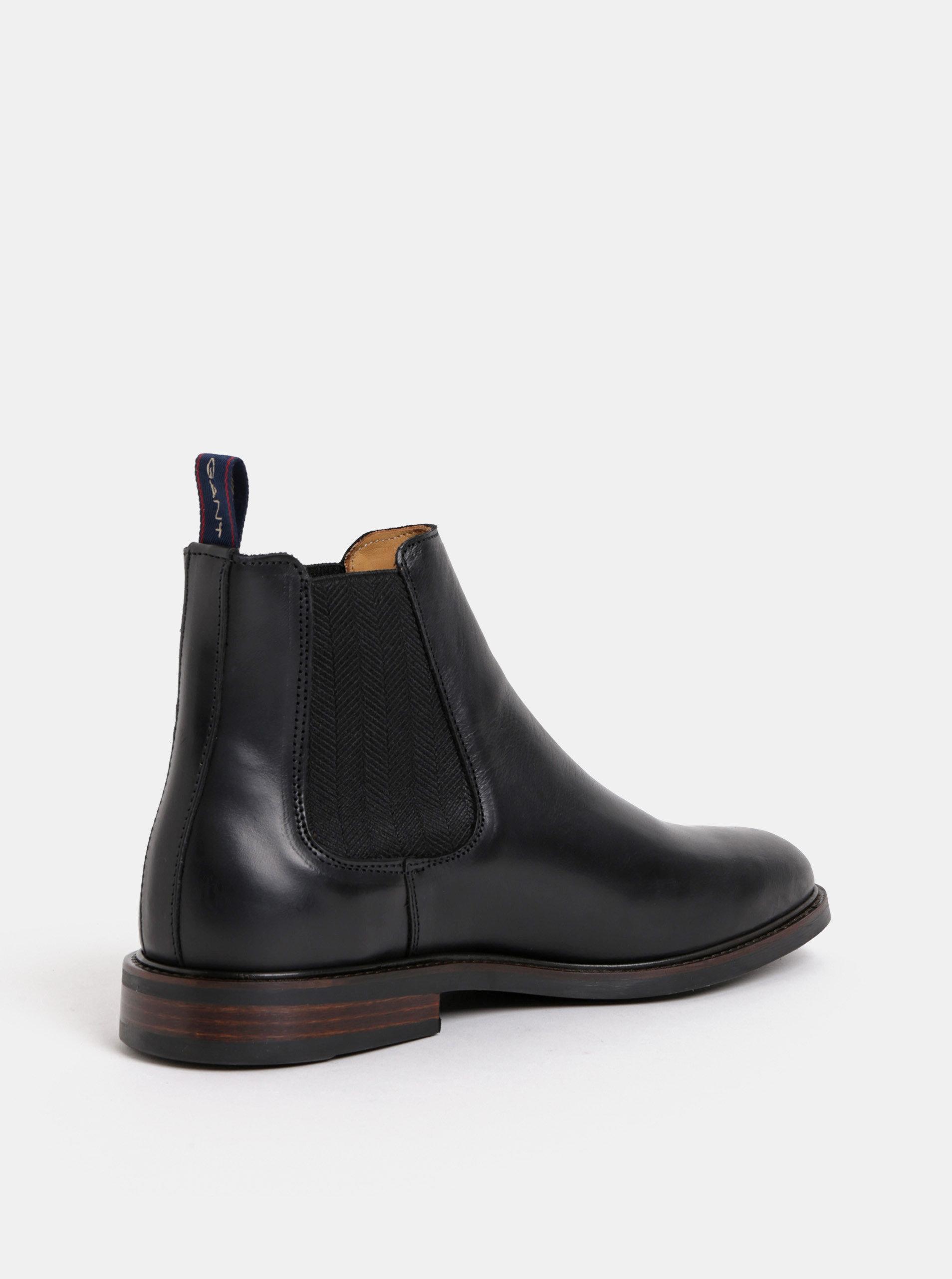 ebf8da5b7a Čierne pánske kožené chelsea topánky GANT Ricardo ...