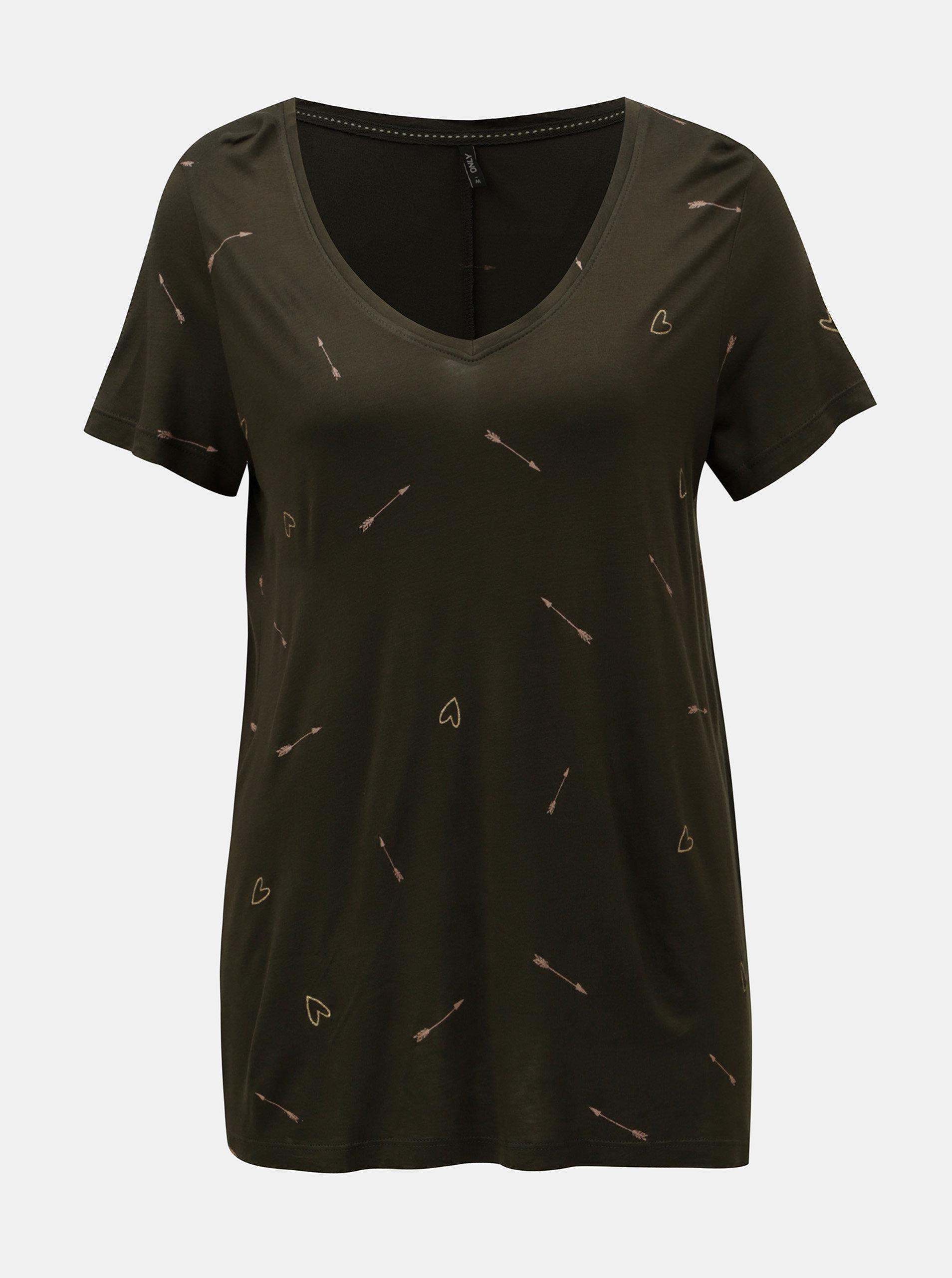 Tmavě zelené volné tričko s motivem srdcí a šípů ONLY Sabel