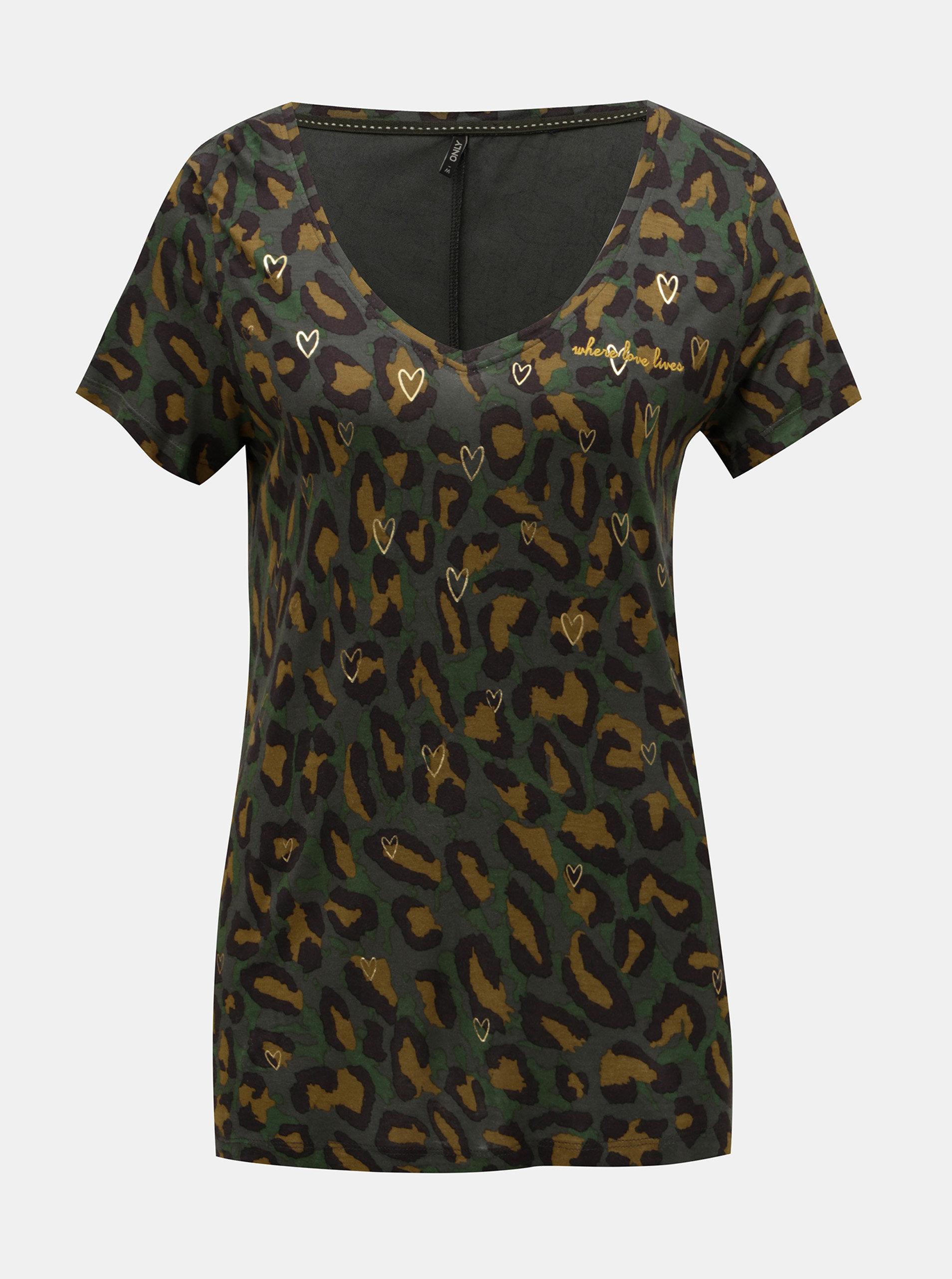 Khaki vzorované volné tričko s motivem srdcí ONLY Sabel