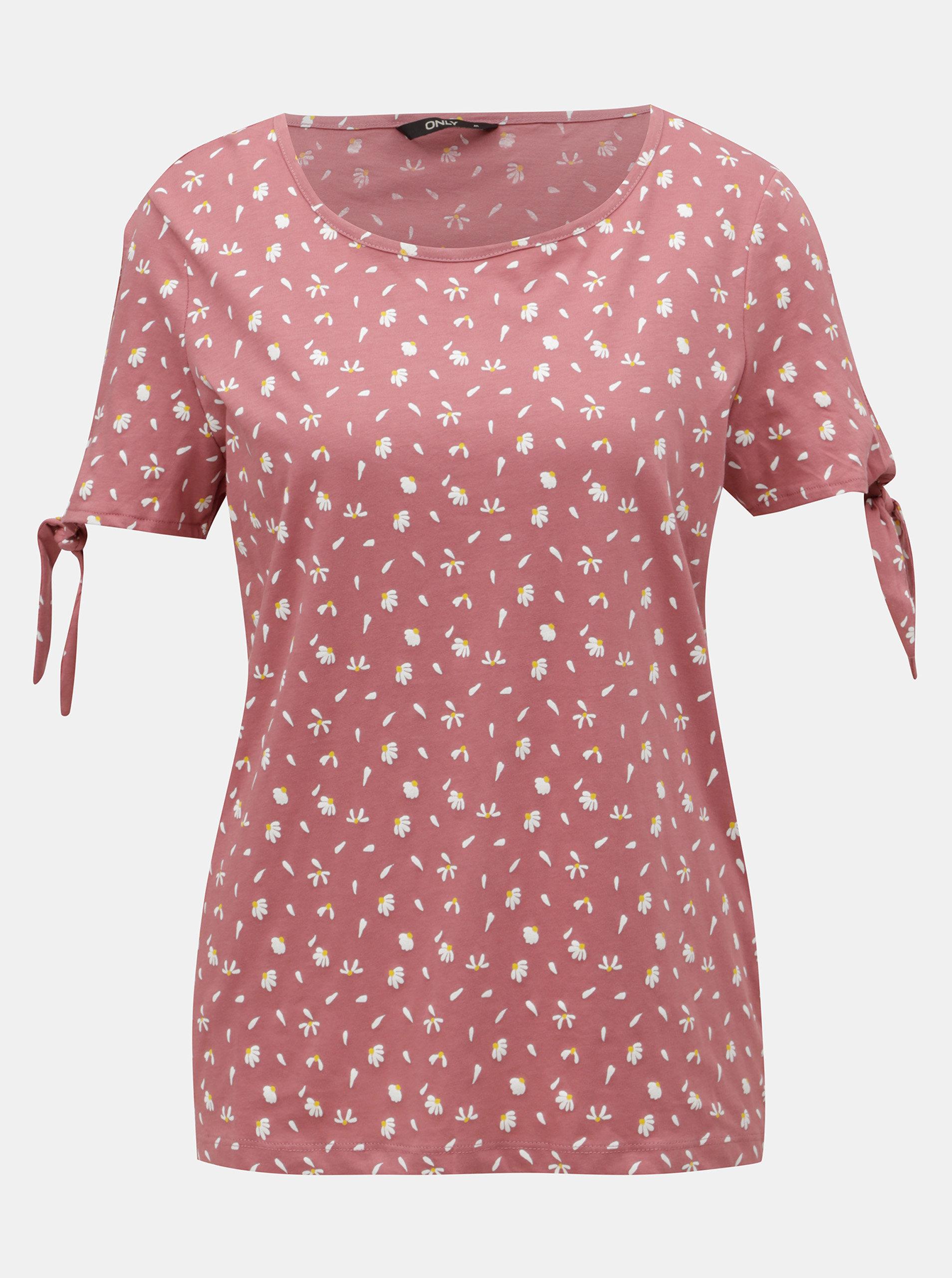 Růžové květované tričko s průstřihy na rukávech ONLY Olivia