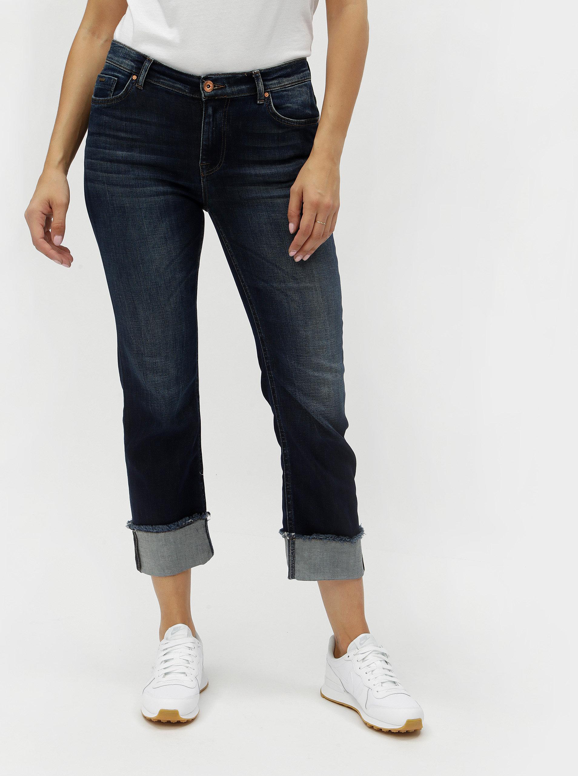 Modré zkrácené straight džíny s vyšisovaným efektem ONLY New Sissi