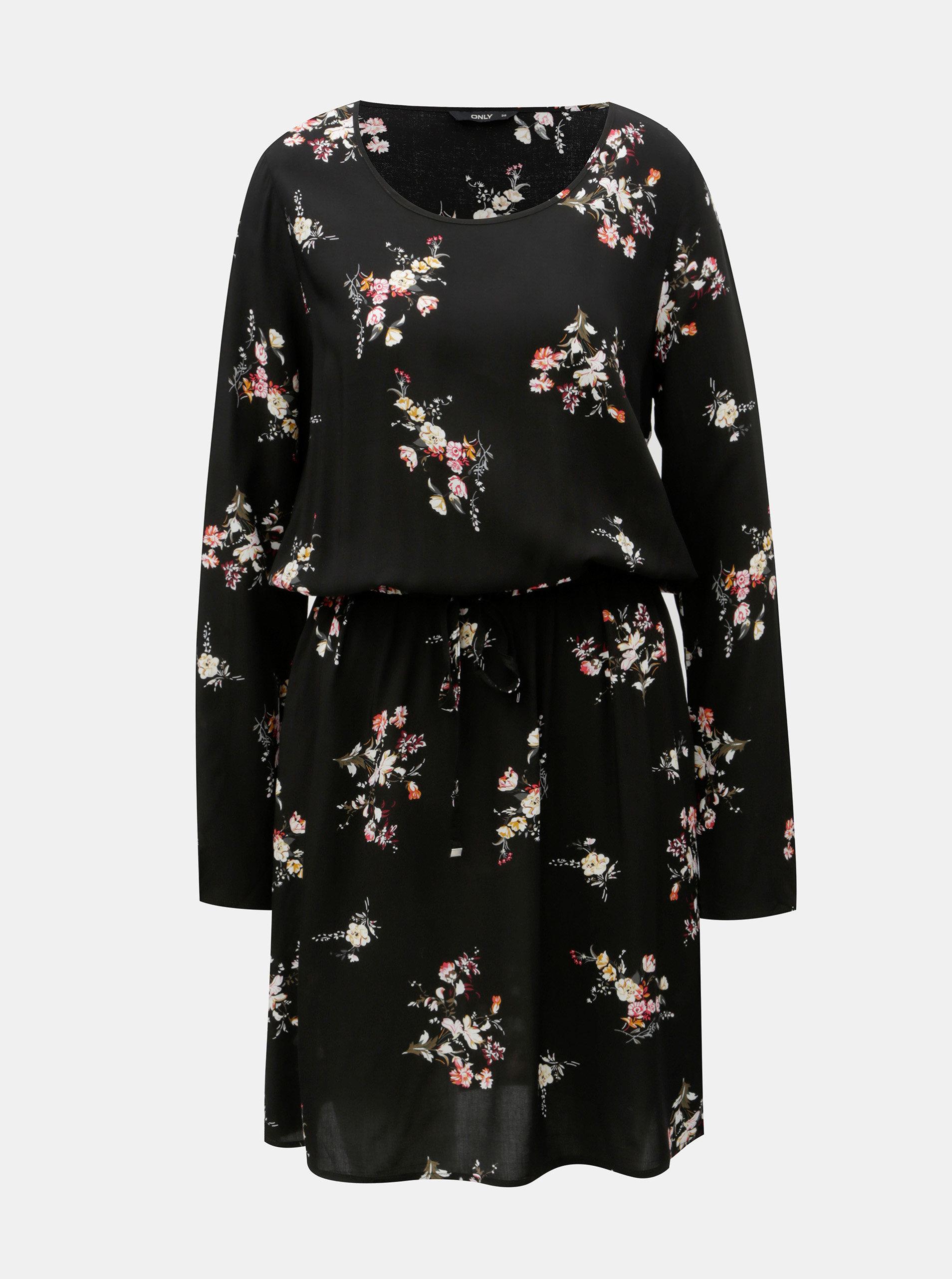 Černé květované šaty s dlouhým rukávem a se zavazováním ONLY Nova Draw