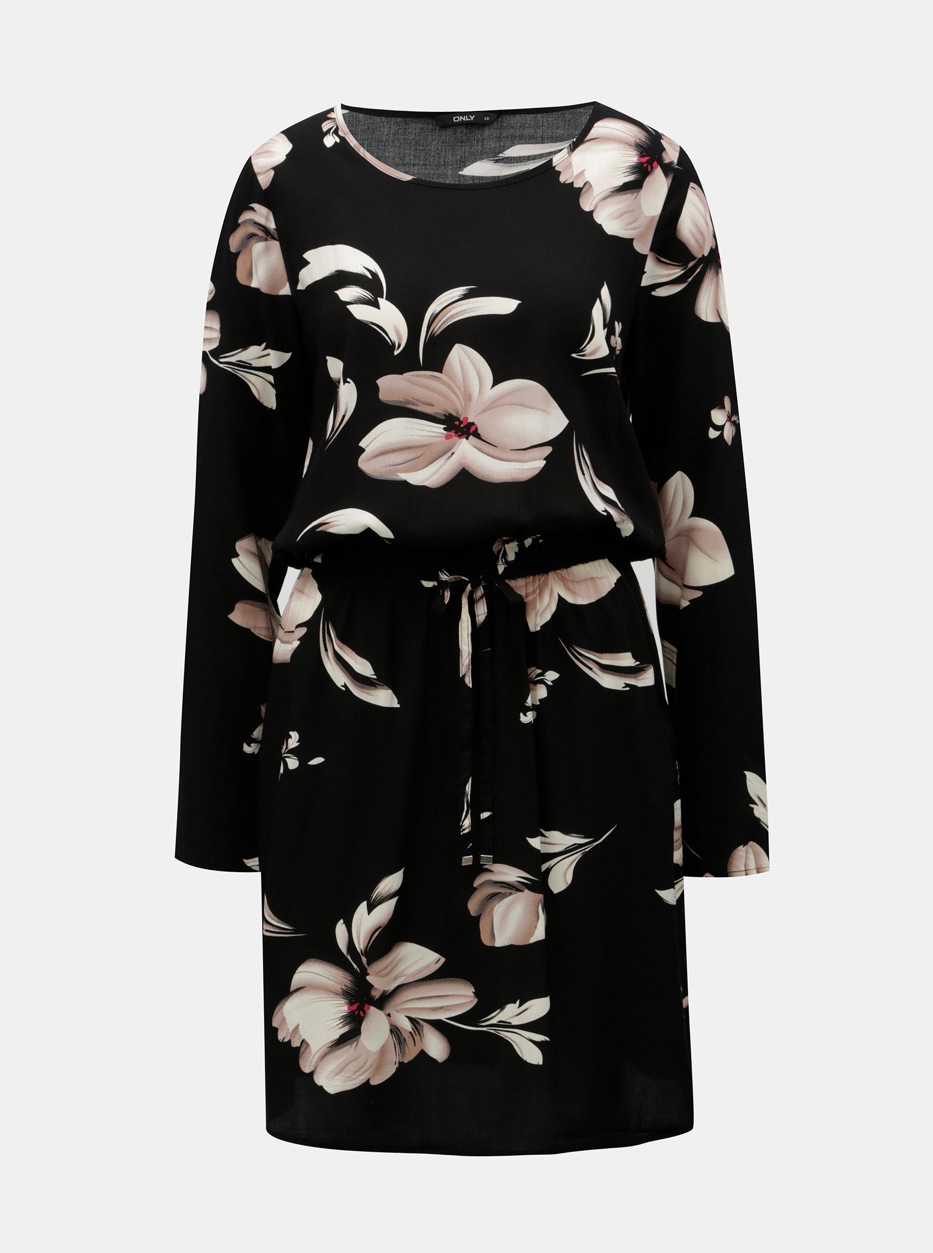 Černé květované šaty s dlouhým rukávem ONLY Nova Draw
