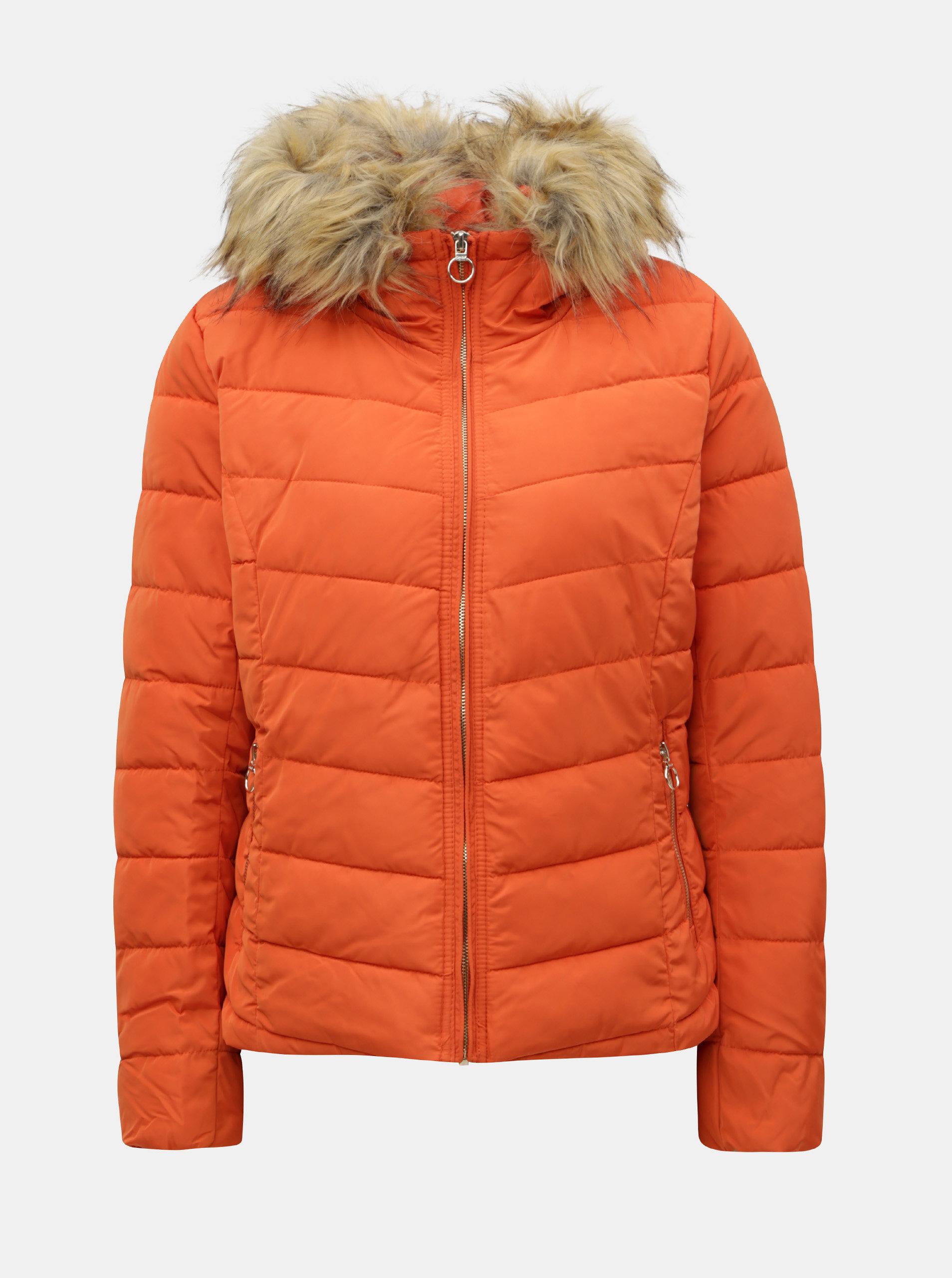 Oranžová prošívaná bunda s odnímatelným umělým kožíškem ONLY New Ellan