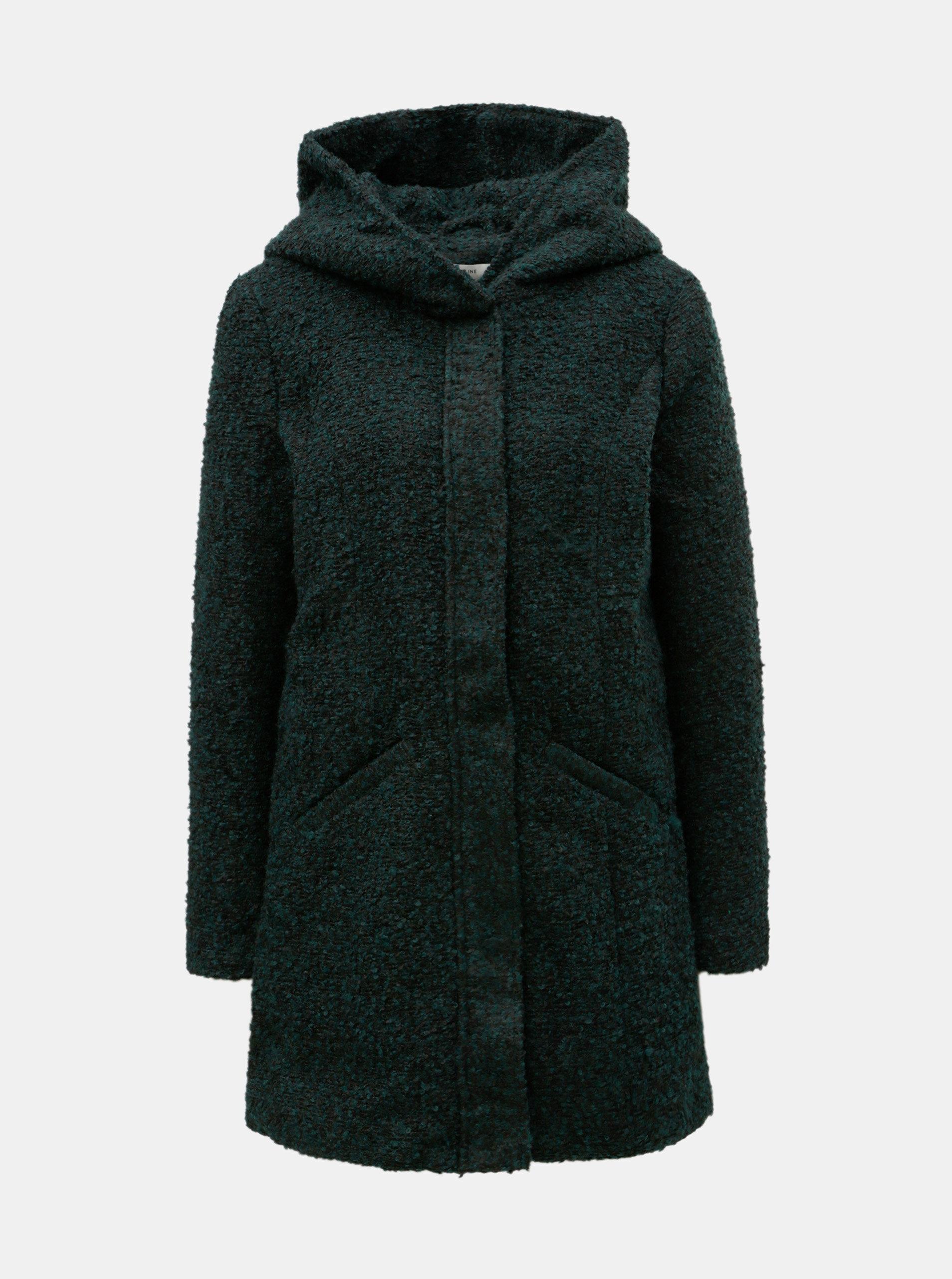 Tmavě zelený žíhaný kabát s kapucí Jacqueline de Yong Demea