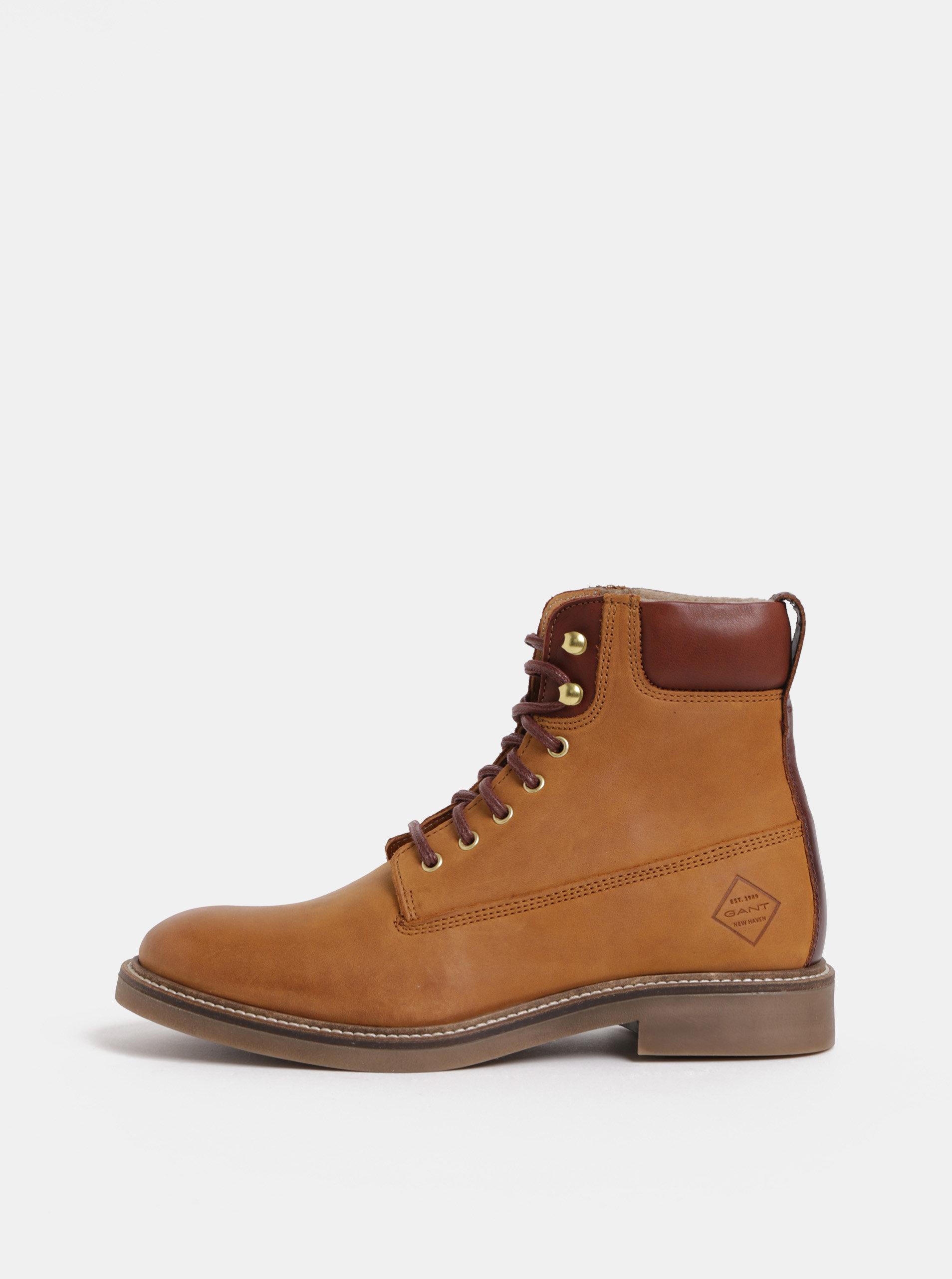 ace754f8c7 Hnedé dámske kožené členkové zimné topánky GANT Ashley ...