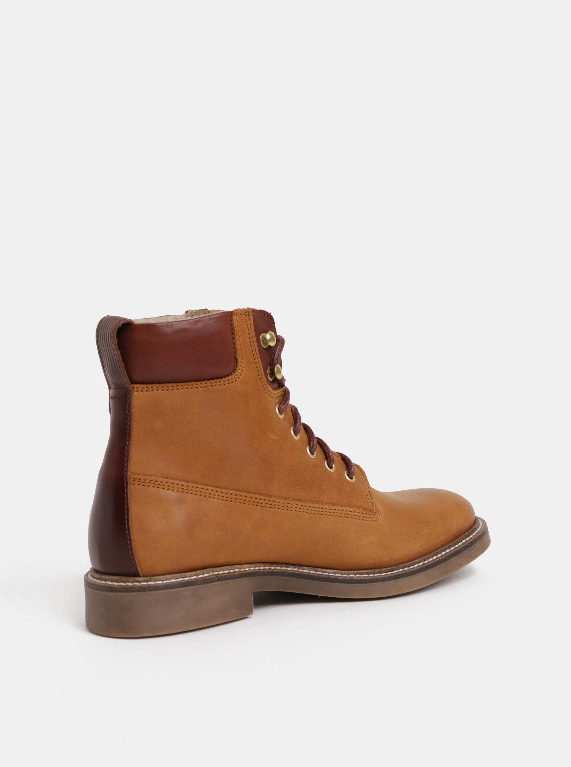 561678dd9dfb Hnedé dámske kožené členkové zimné topánky GANT Ashley ...