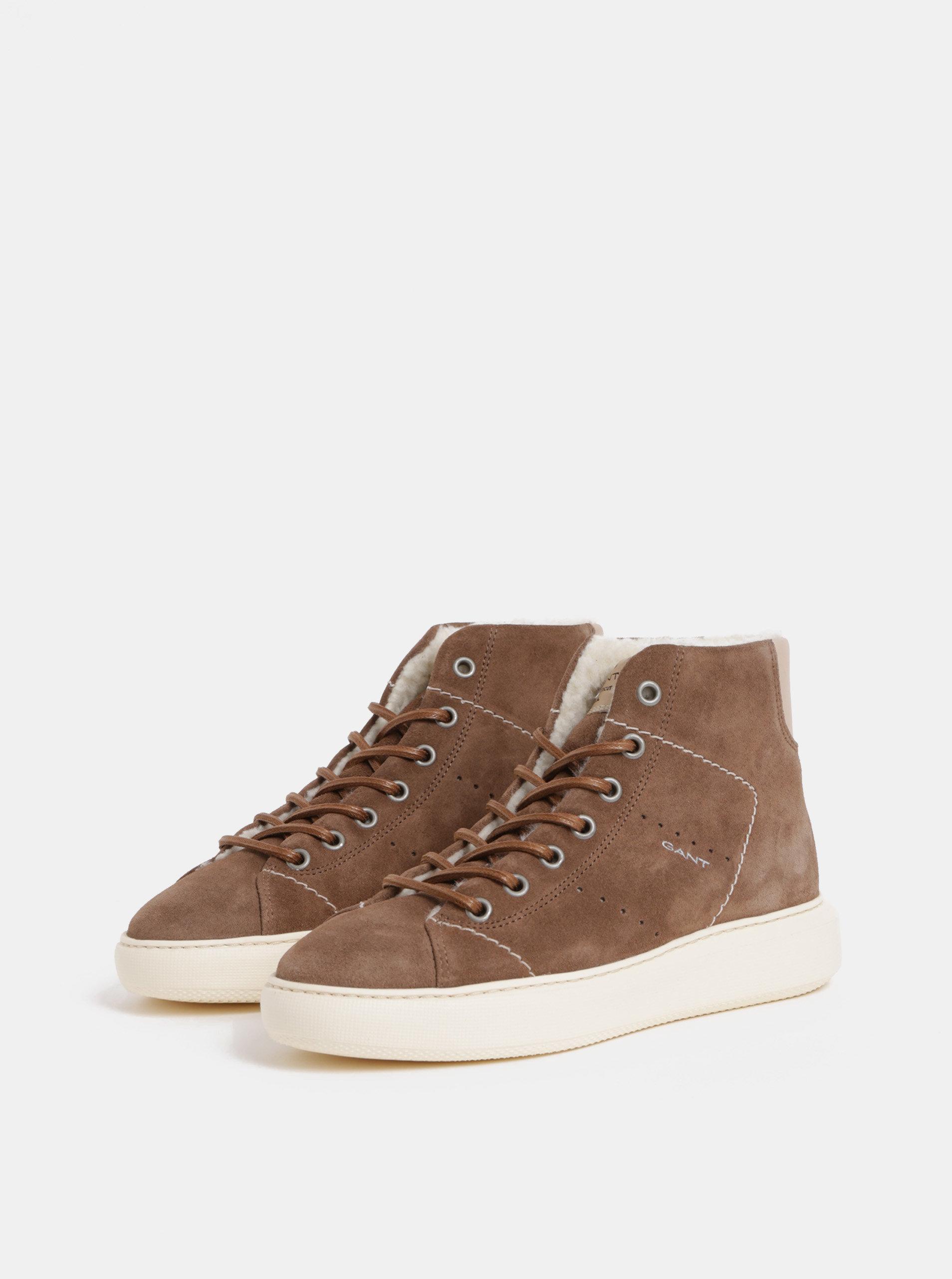 1dad667ab Hnedé dámske semišové členkové zimné topánky s vlnenou podšívkou GANT Kay  ...