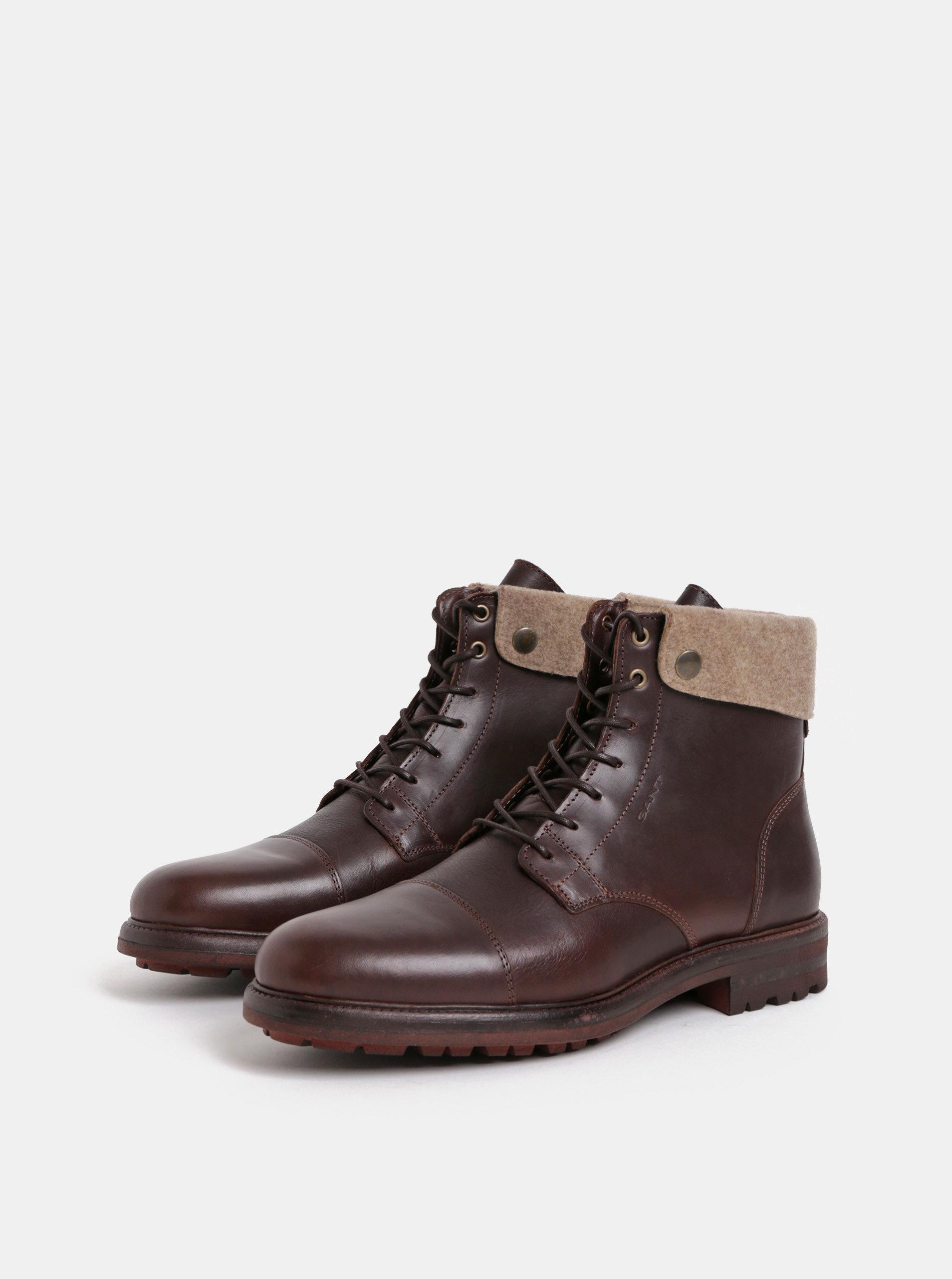 b269c6b0b7e7 Tmavohnedé pánske kožené členkové zimné topánky GANT Nobel ...
