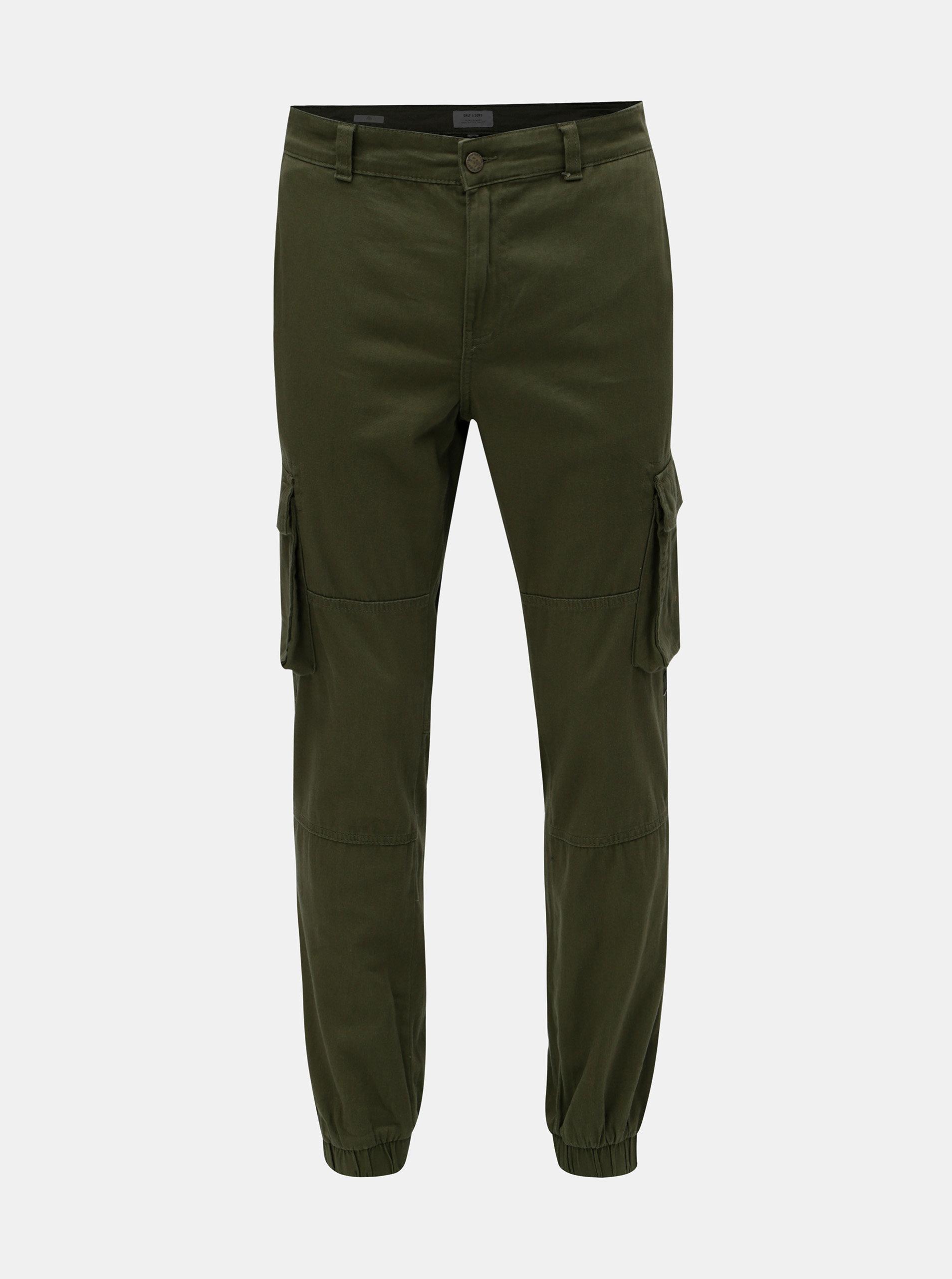 Tmavě zelené slim fit chino kalhoty ONLY & SONS