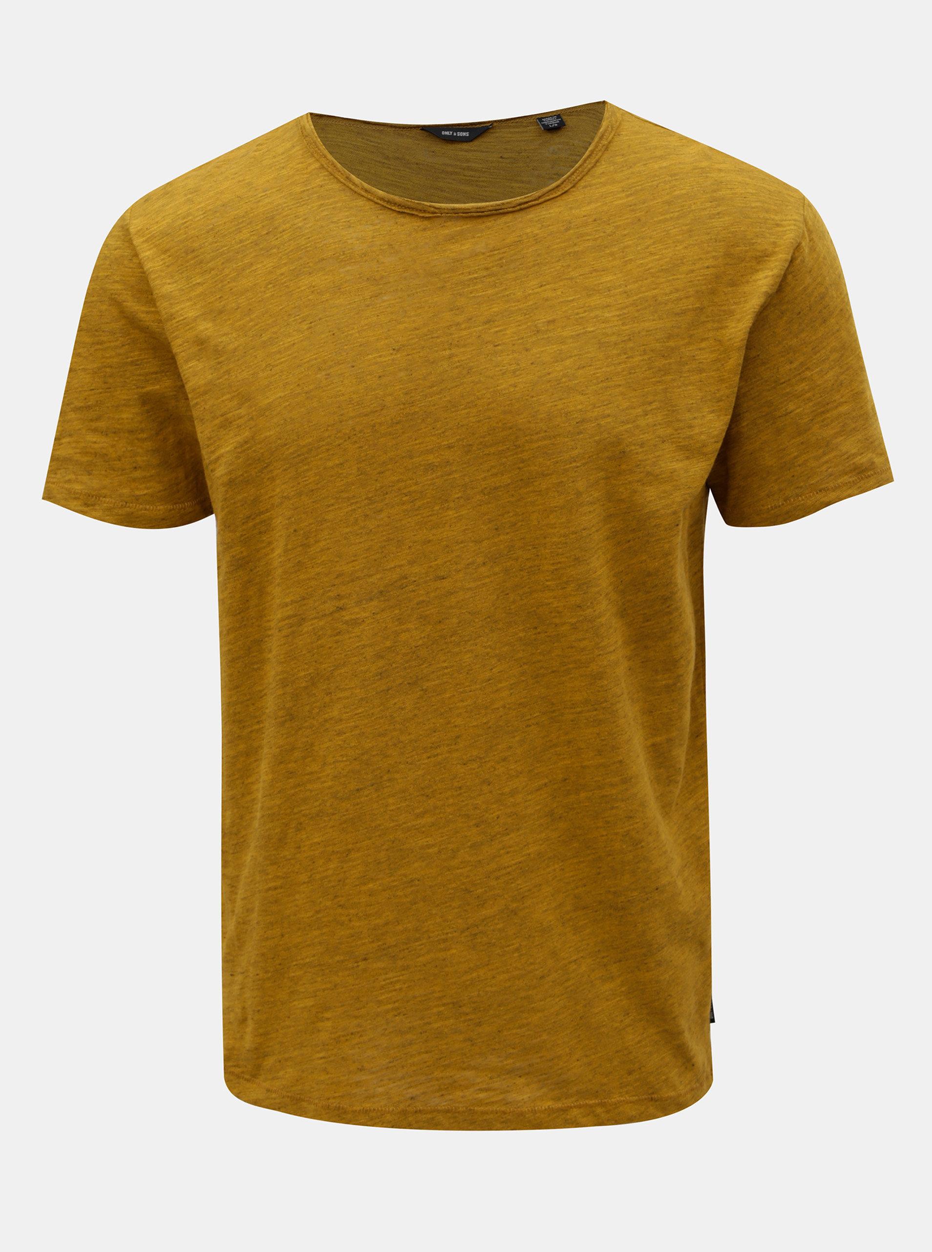 Hořčicové žíhané tričko ONLY & SONS