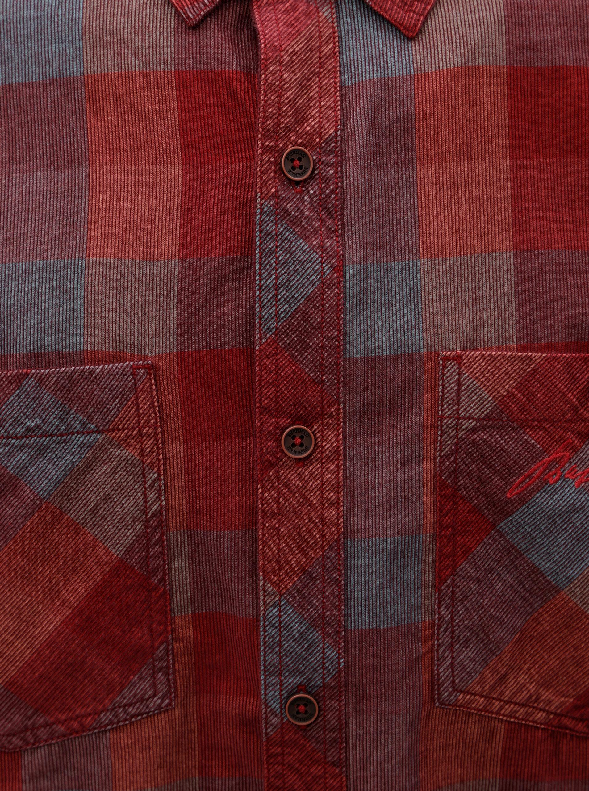 Červená pánská kostkovaná manšestrová košile BUSHMAN Zap ... 8bc0c3689a