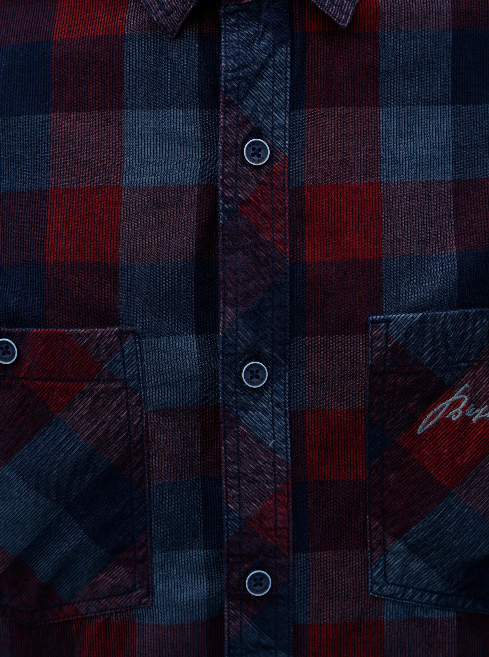 d21b506b3 Modrá pánska kockovaná menčestrová košeľa BUSHMAN Zap | ZOOT.sk