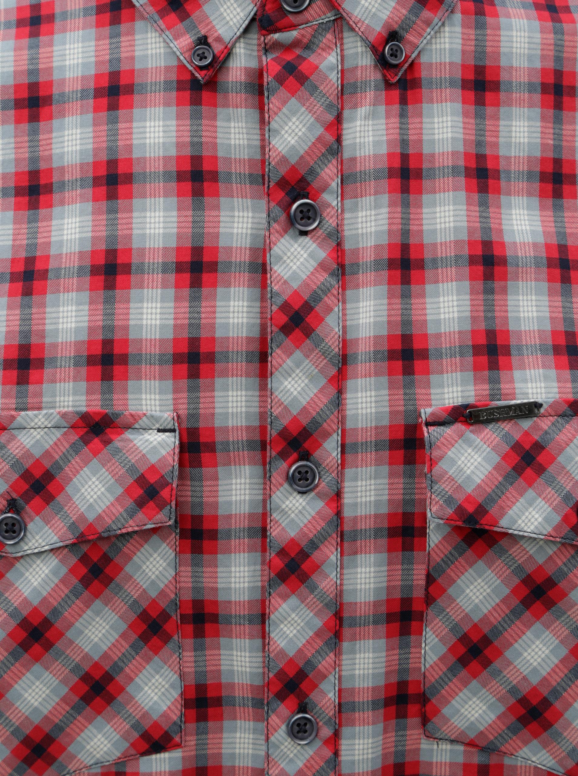 Modro-červená pánská kostkovaná košile BUSHMAN Gresham ... 4373e61afe