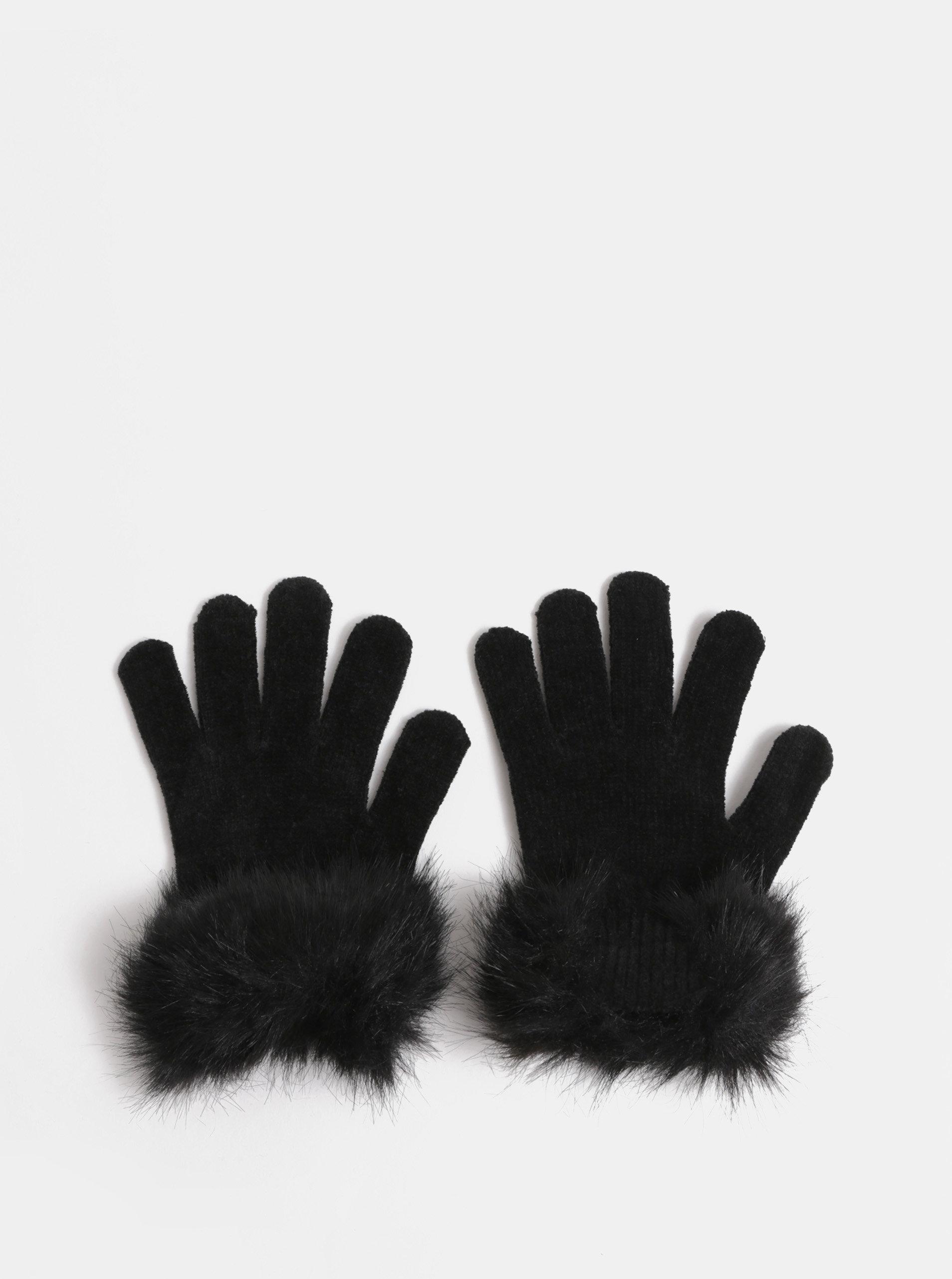 Černé rukavice s umělým kožíškem Pieces Kassi