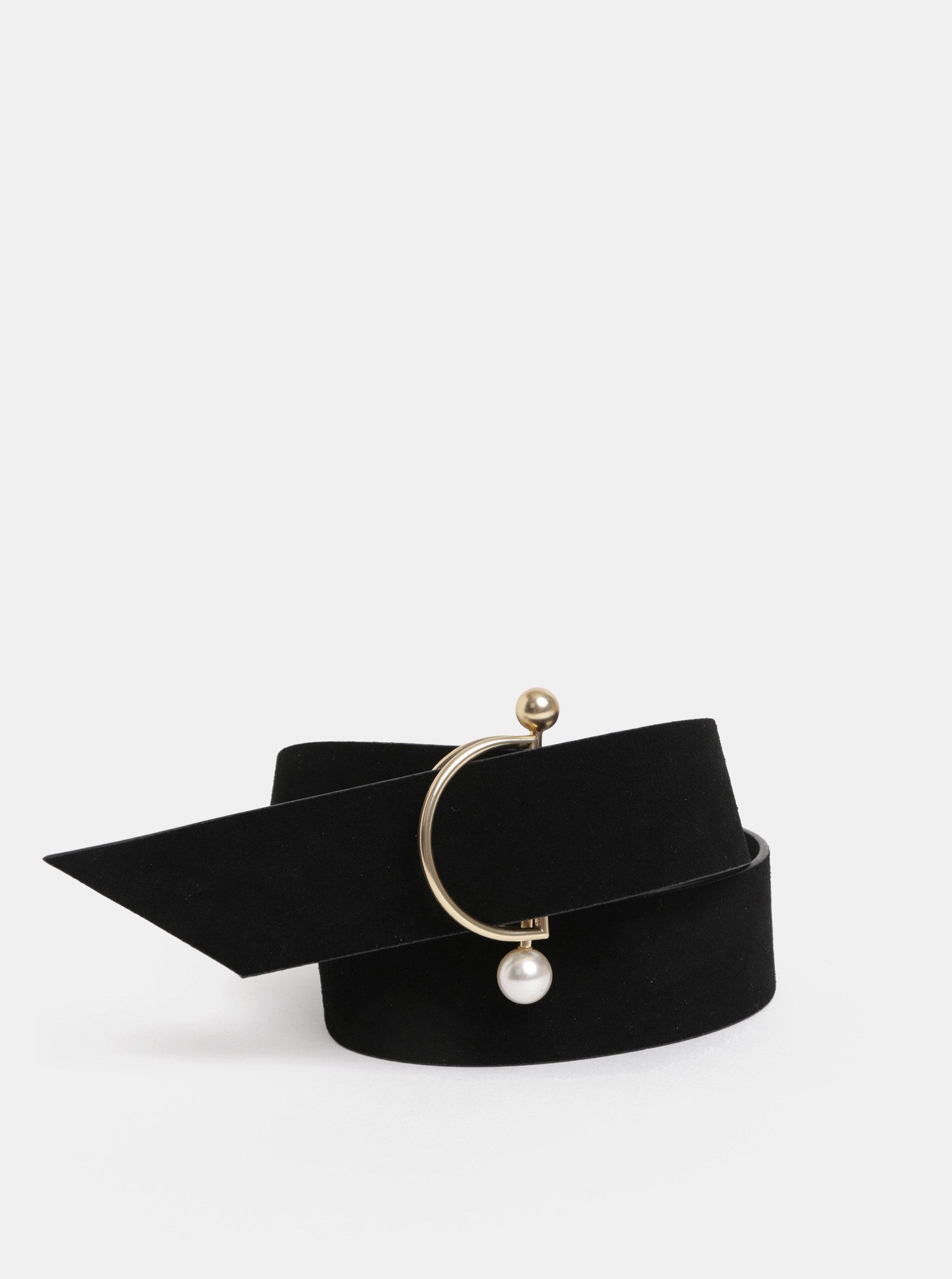 Černý semišový pásek s ozdobnou přezkou Pieces Krina