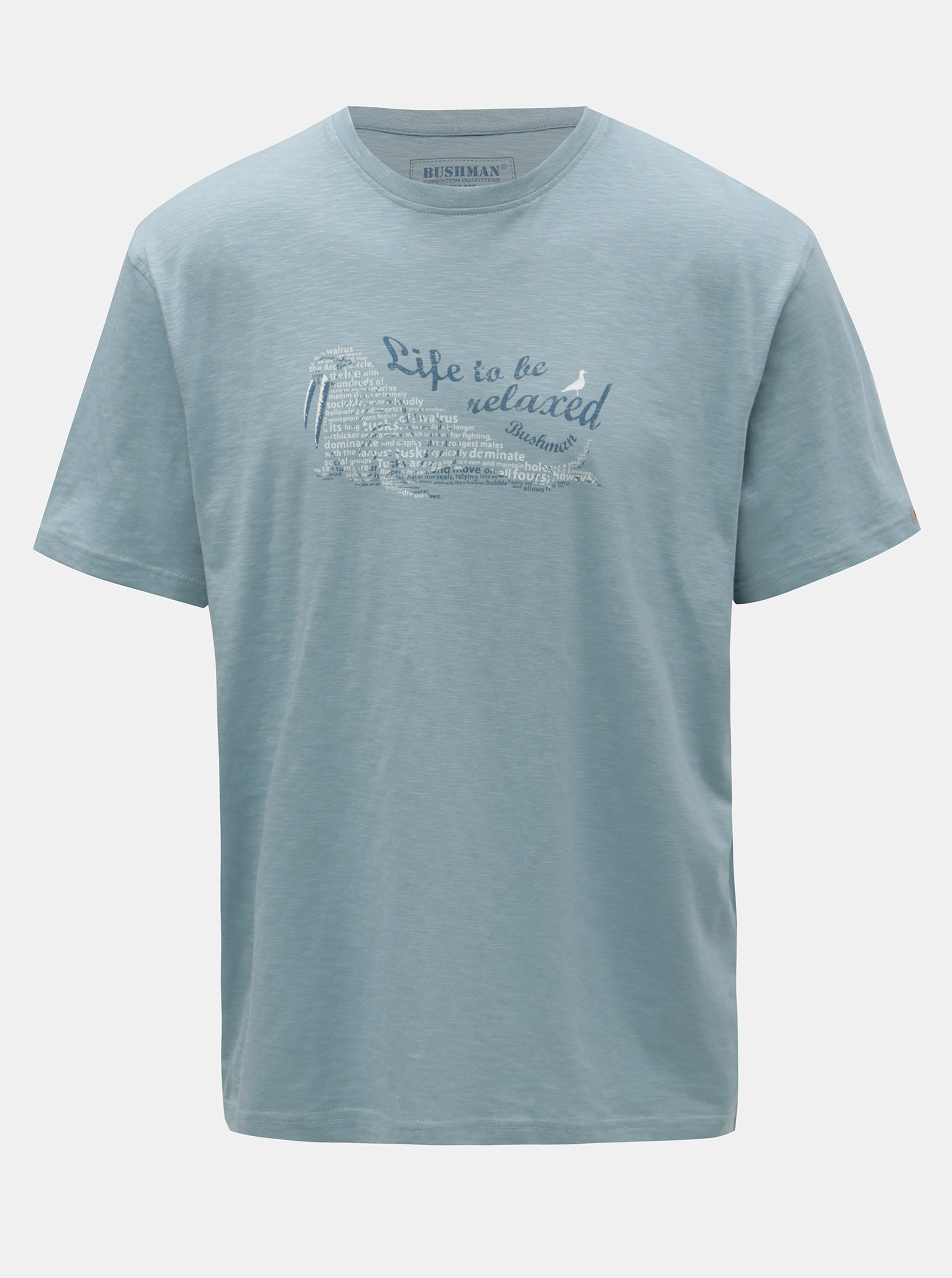 Světle modré pánské tričko s potiskem BUSHMAN Croff
