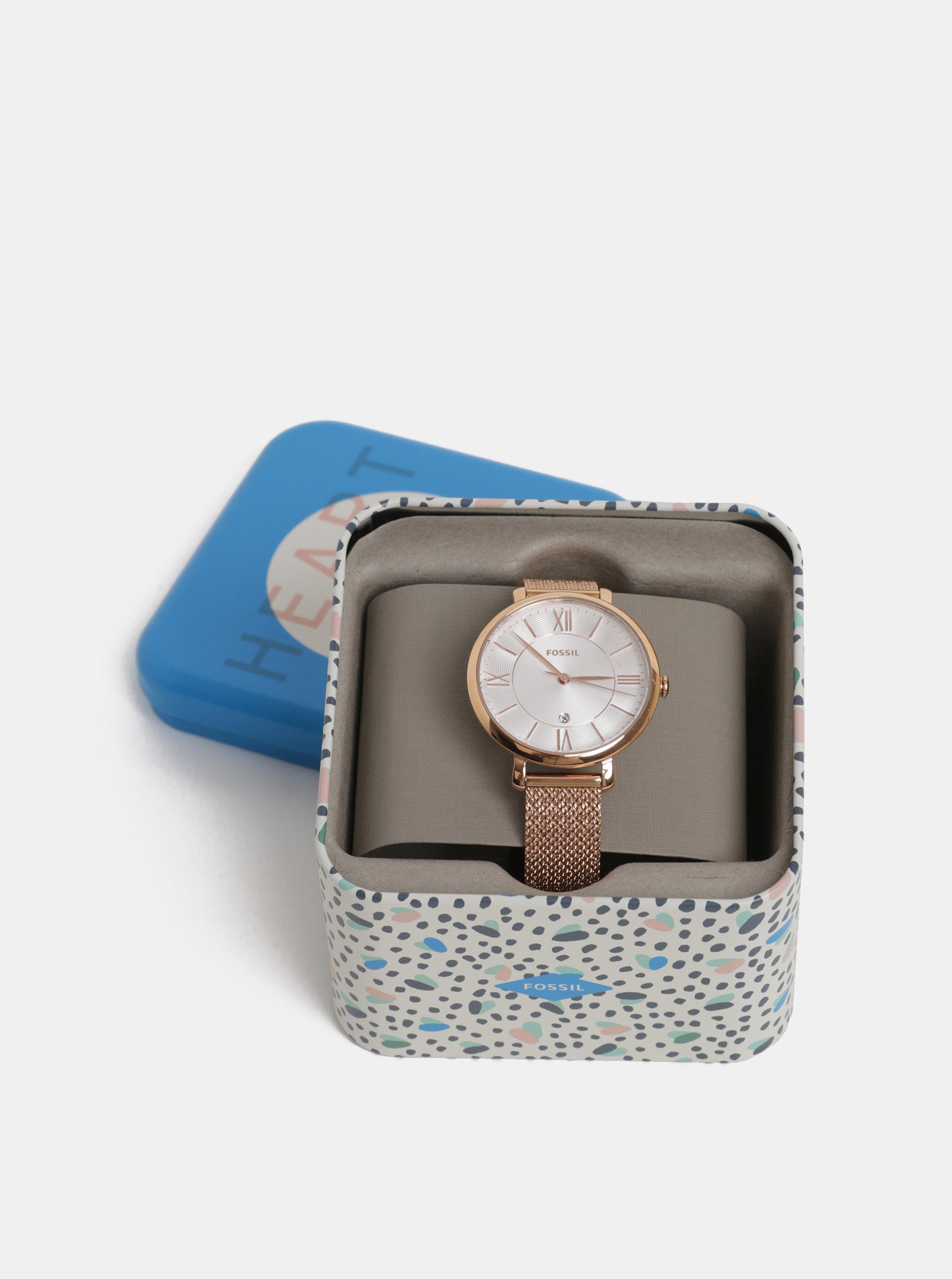 Dámské hodinky s nerezovým páskem v růžovozlaté barvě Fossil Jacqueline ... e1157bf6b3