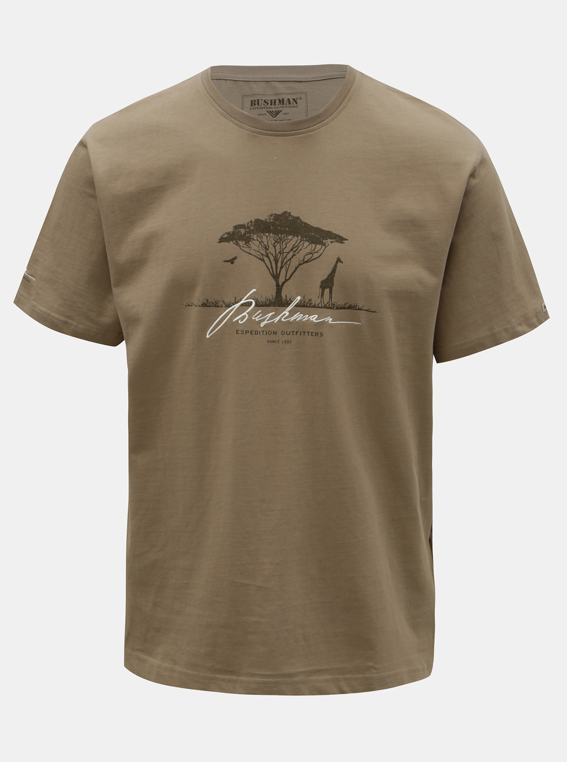 Pánské khaki tričko s potiskem BUSHMAN Parshall