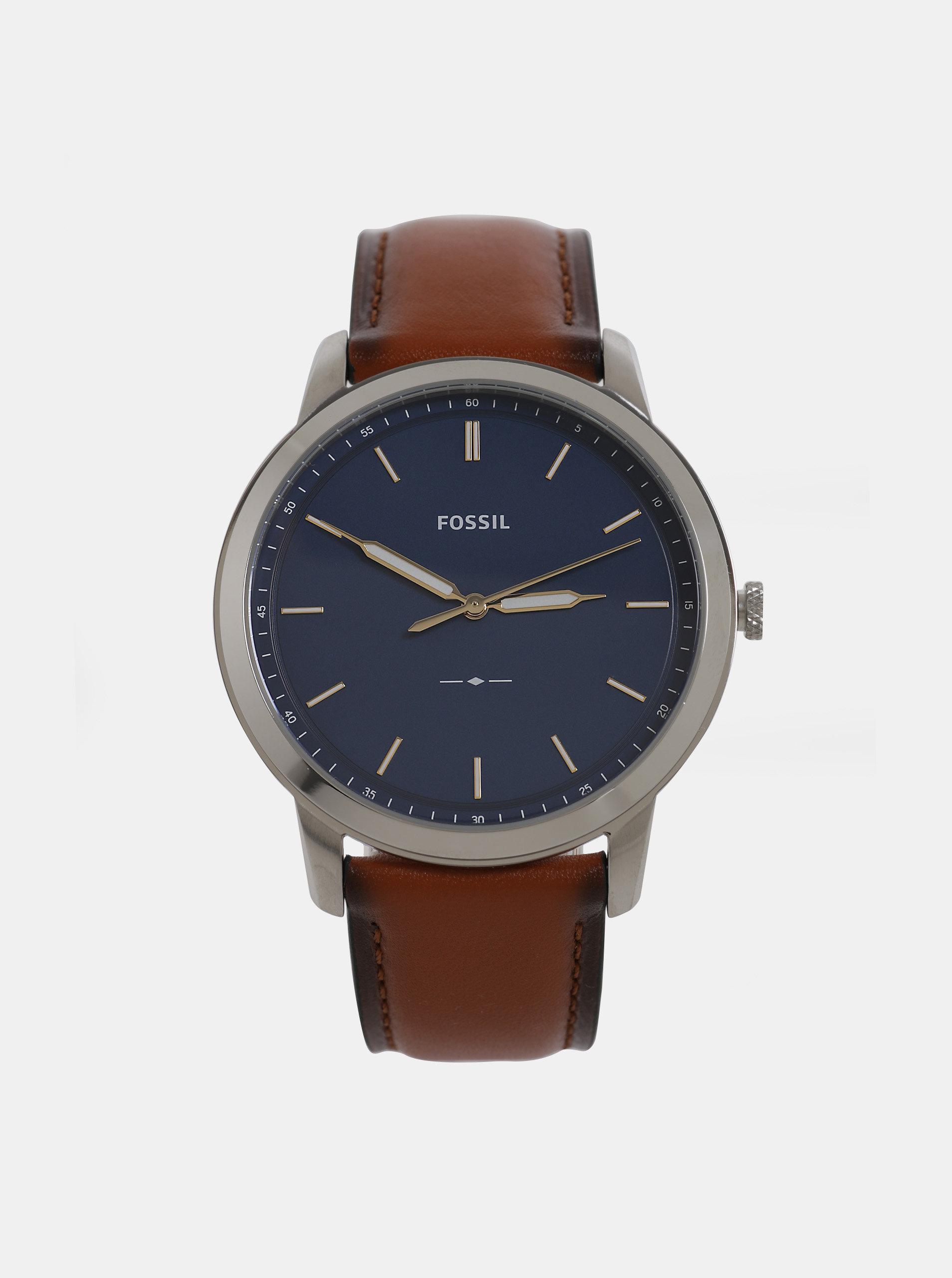 Hnědé pánské hodinky s koženým páskem Fossil Minimalist