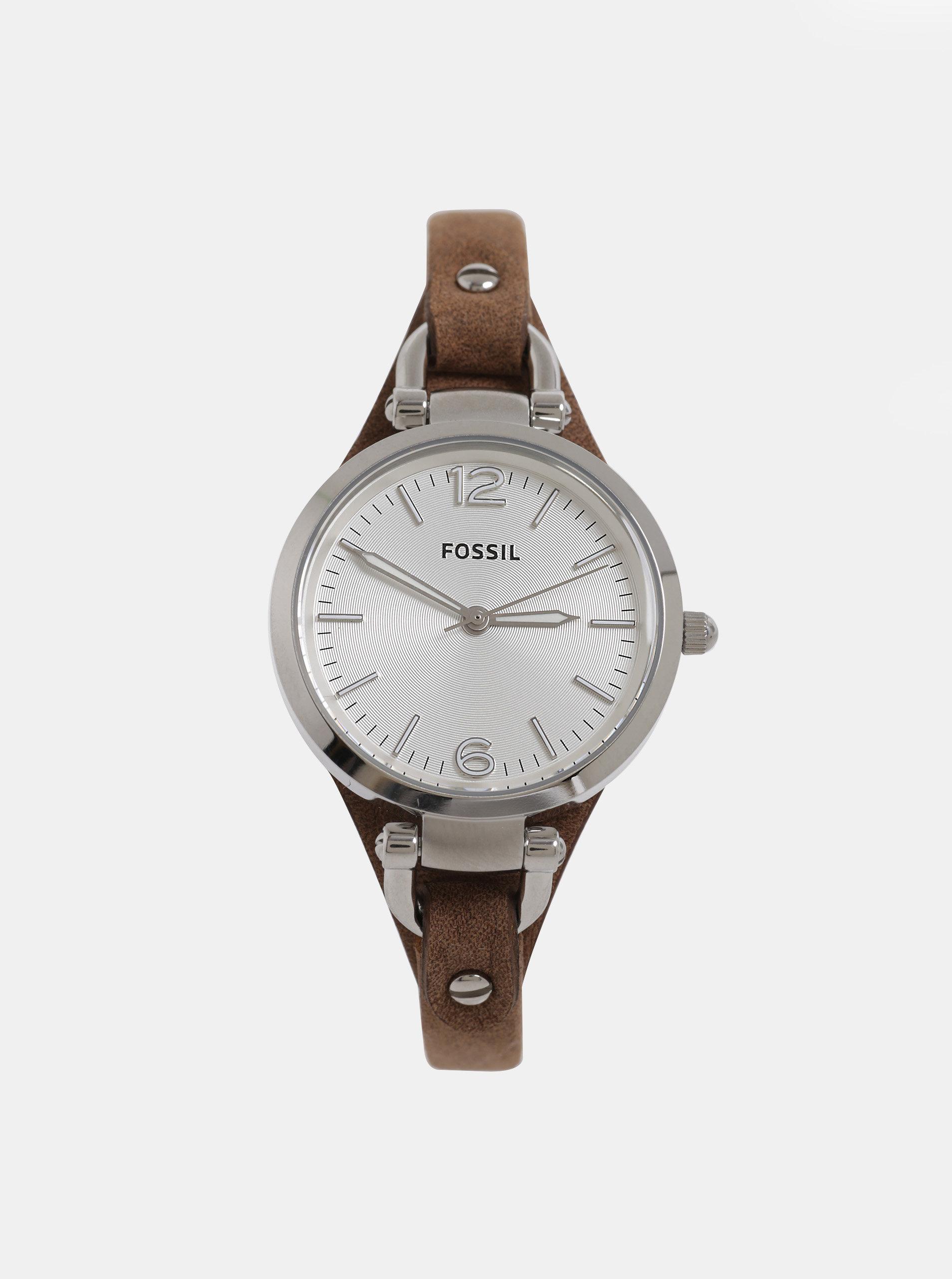 Hnedé dámske hodinky s koženým remienkom Fossil Georgia ... a666870e987